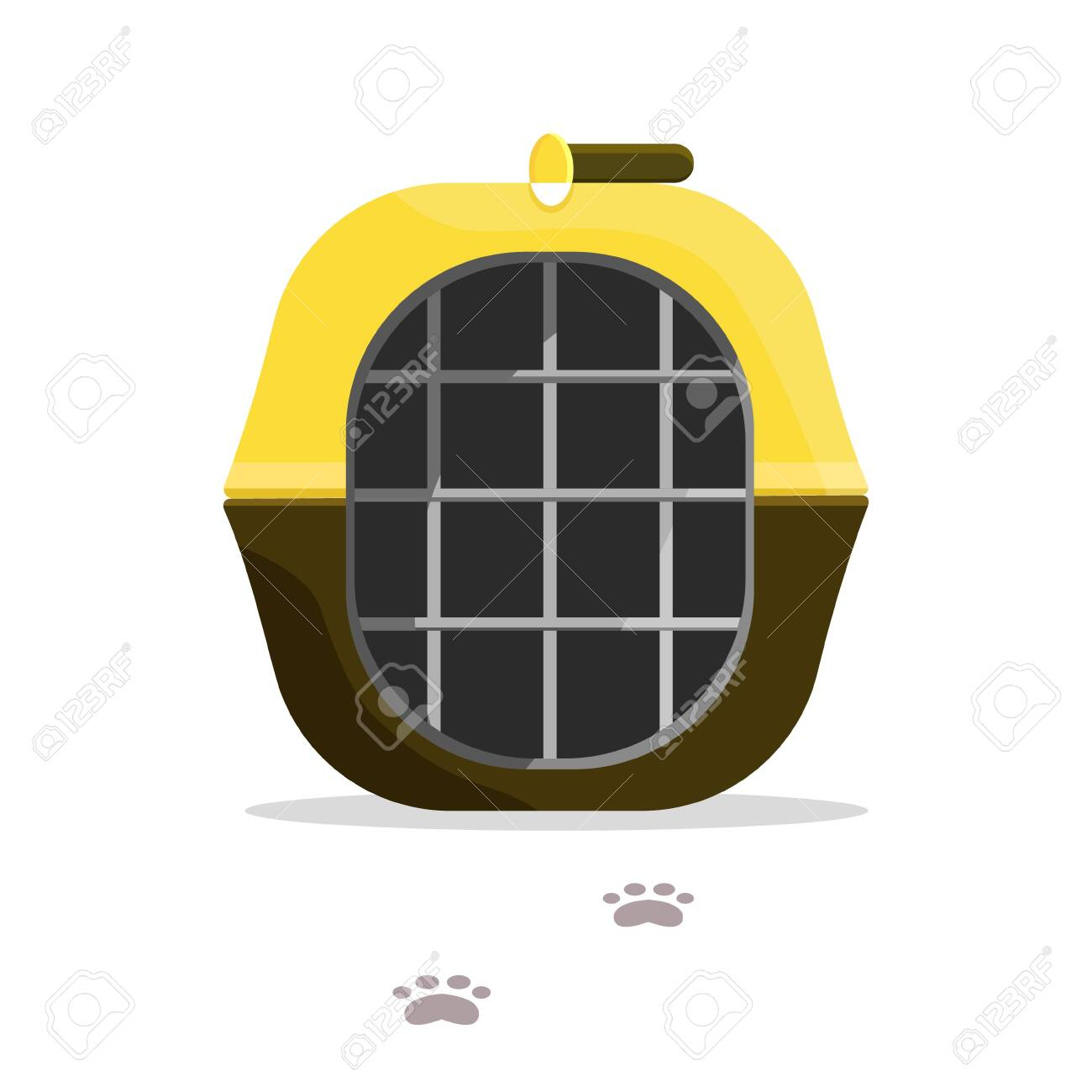 Yellow black brown carrying for animals, dog, cat, pet with tracks. Modern flat style vector illustration icons. - 128547629