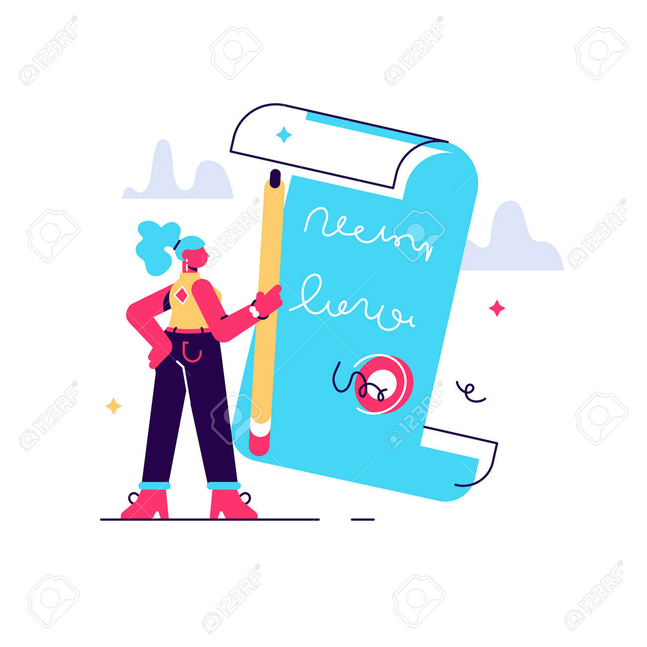Contract signing. Deal confirmation, official document signature, business statement. Office worker doing paperwork, bureaucracy and formalities idea. Vector isolated concept metaphor illustration - 146230528