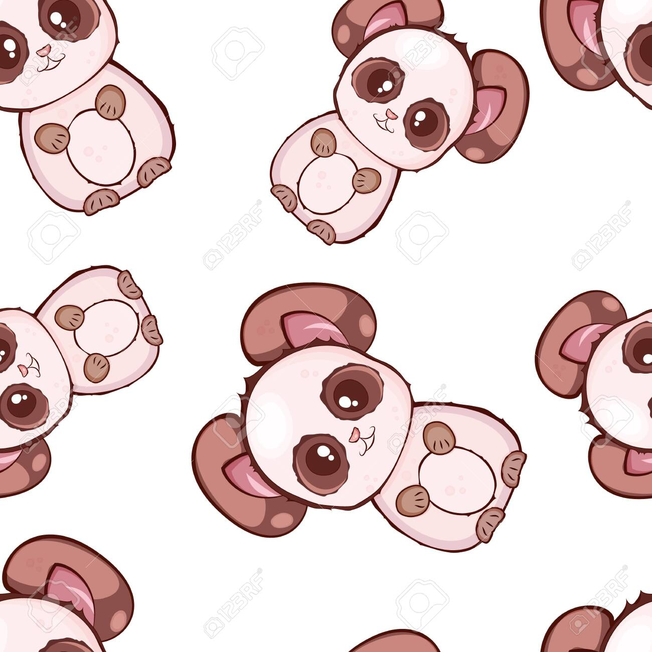 Vector Seamless Pattern With Cute Kawaii Pandas Baby Style Royalty Free Cliparts Vectors And Stock Illustration Image 128636336