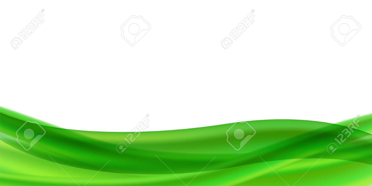 Horizontal vector abstract flyer or banner with place for text. Abstract background with green streams of liquid on a white background. Gradient mesh with transparency. Blank for advertising. - 144904524