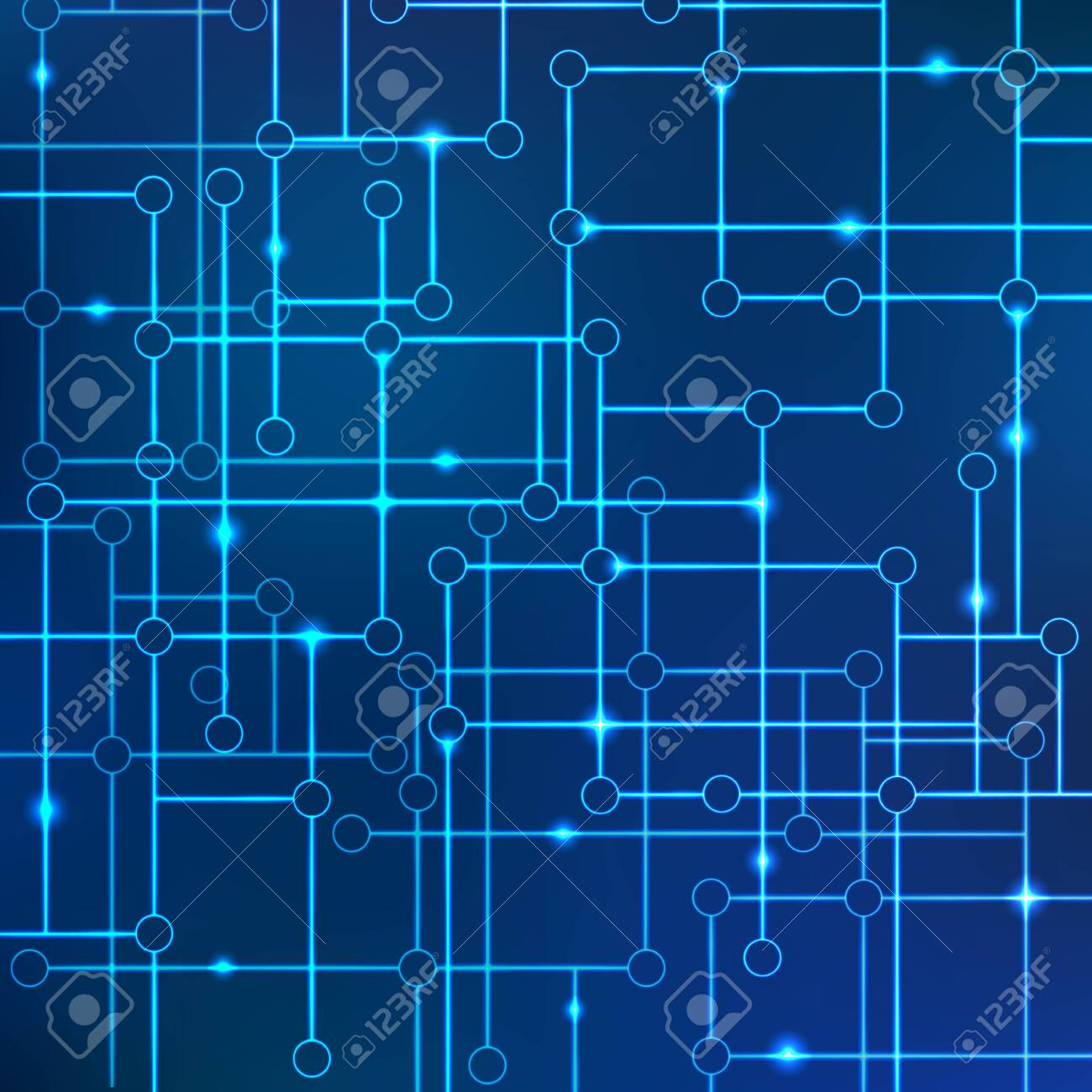 Vector background of lines of connected circles with the effect of neon or glow. Concept of electronic communications and data transfer. Science of technology and computer science. Data array. - 147840051