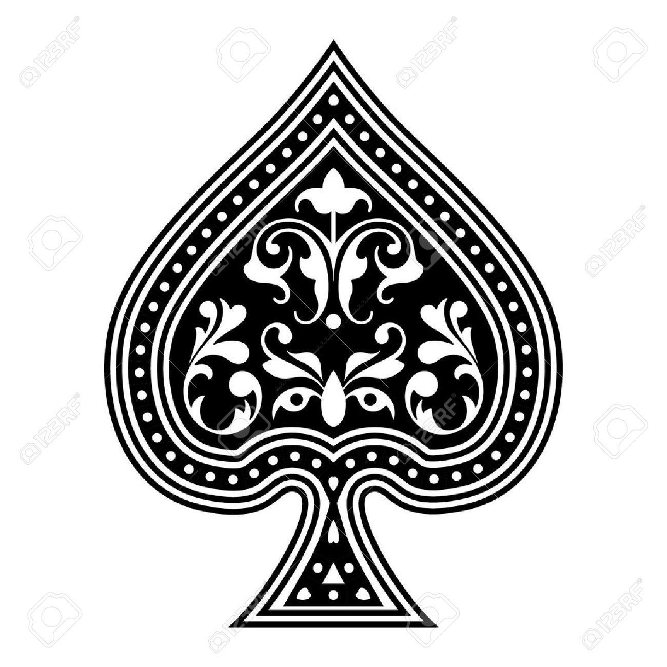 spade card vector  An ornate playing card spade