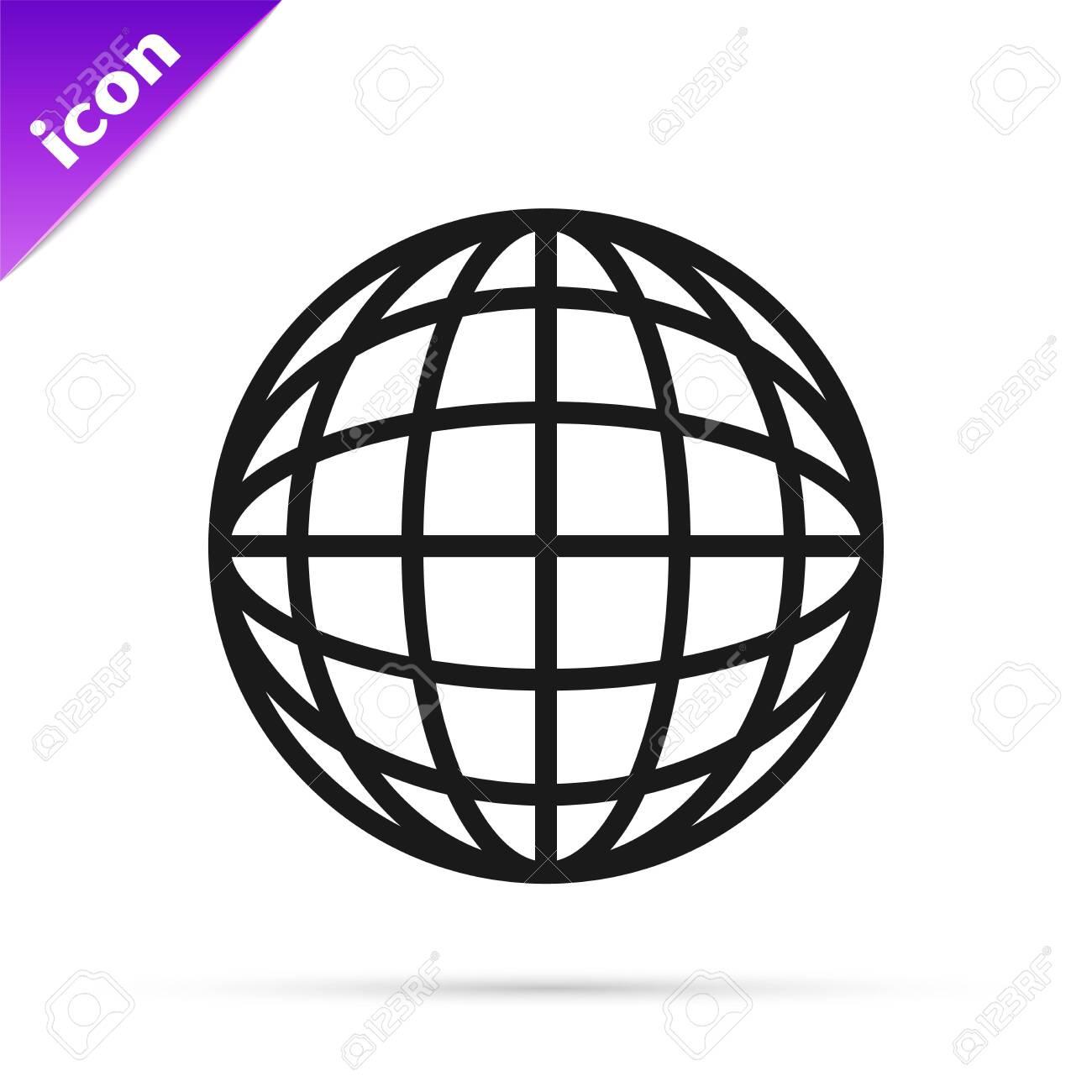 Black line Earth globe icon isolated on white background  World