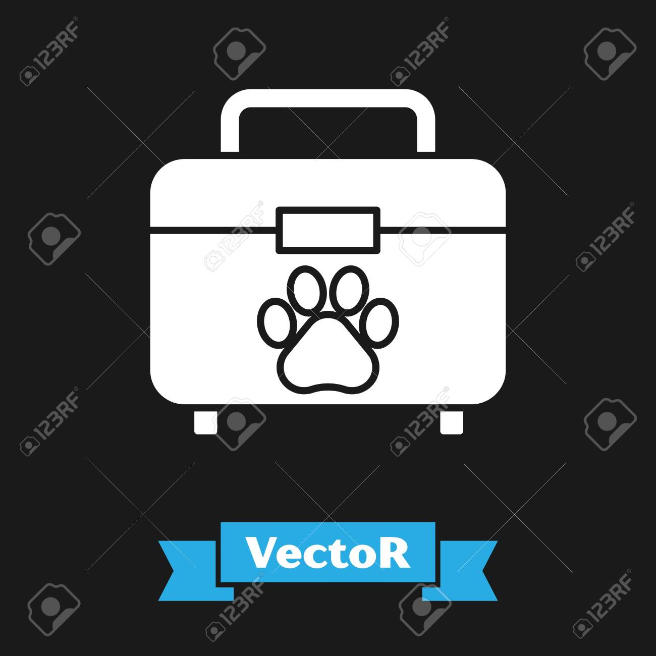 White Pet first aid kit icon isolated on black background  Dog