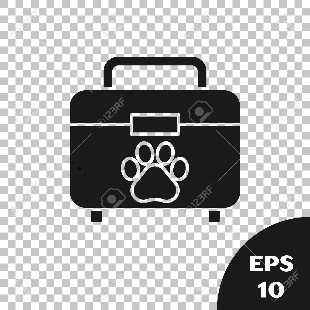 Black Pet first aid kit icon isolated on transparent background