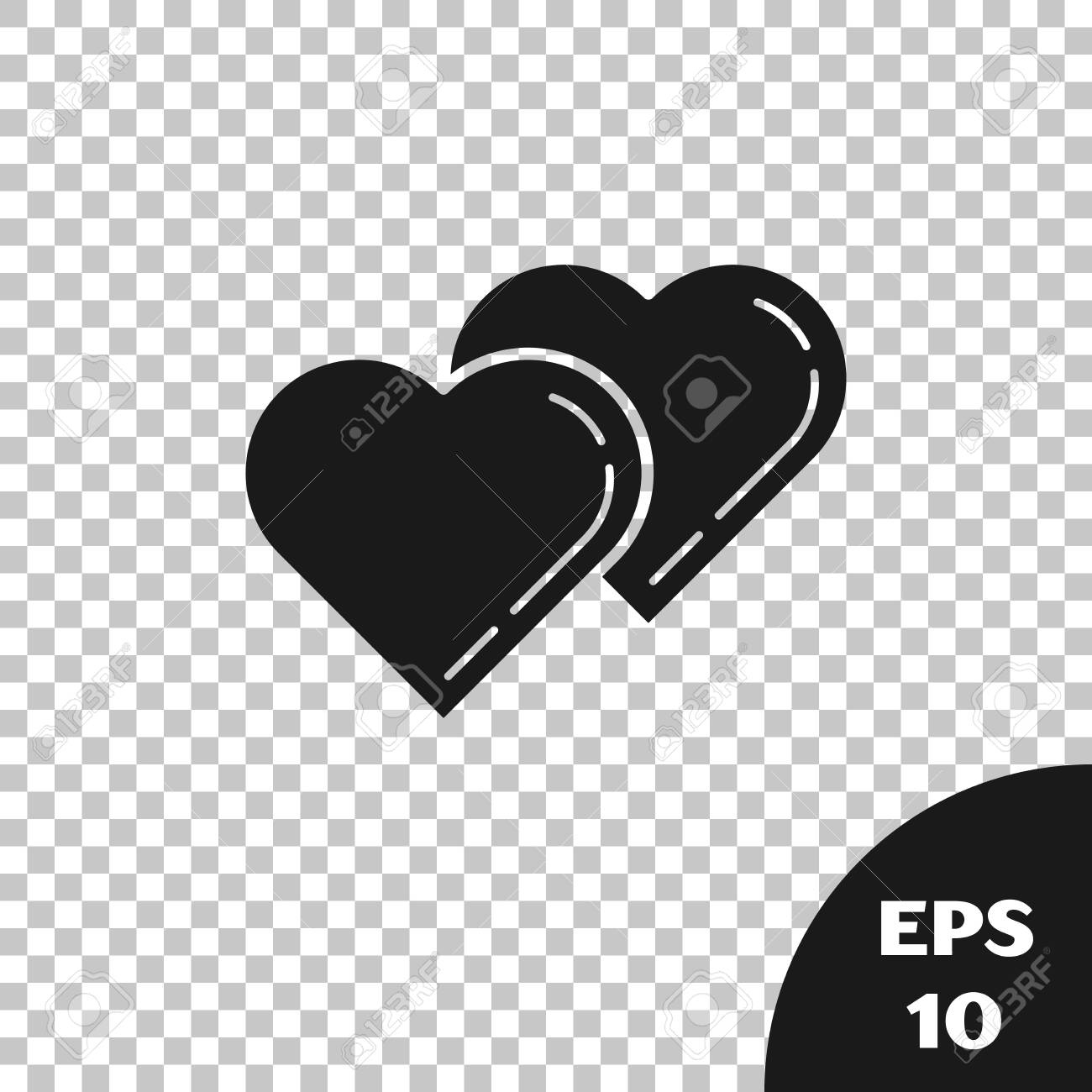 Black Two Linked Hearts icon isolated on transparent background