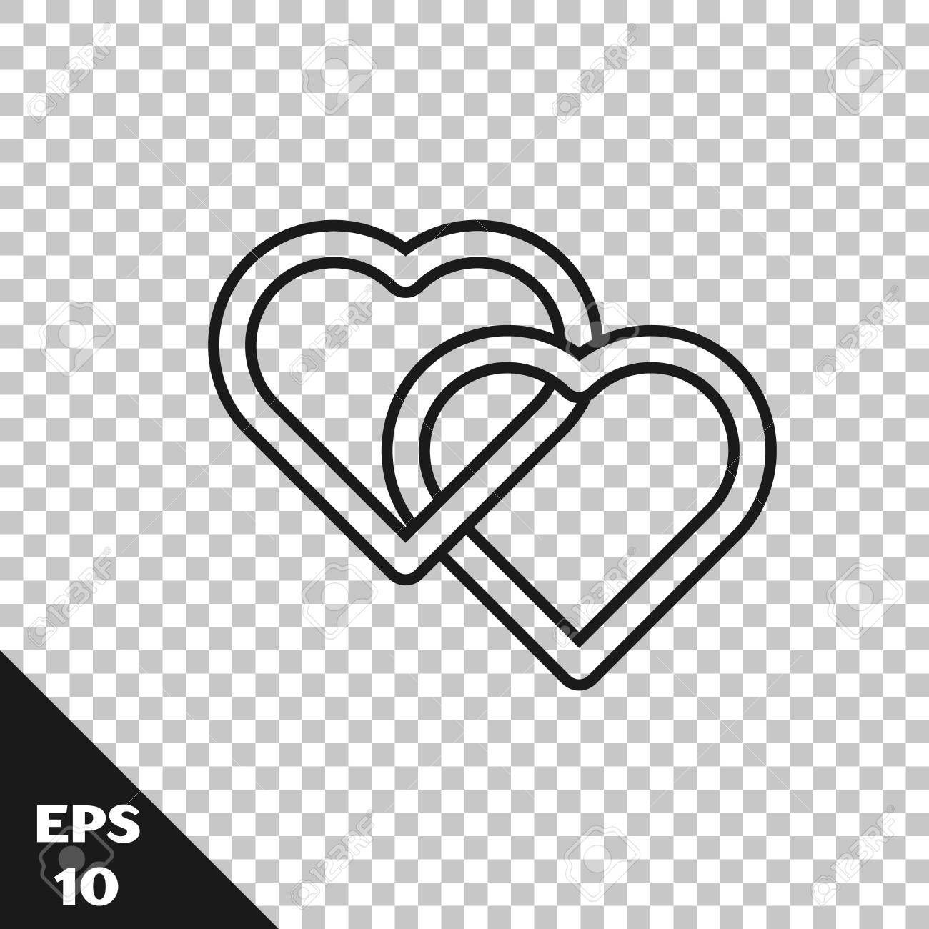 Black line Two Linked Hearts icon isolated on transparent background