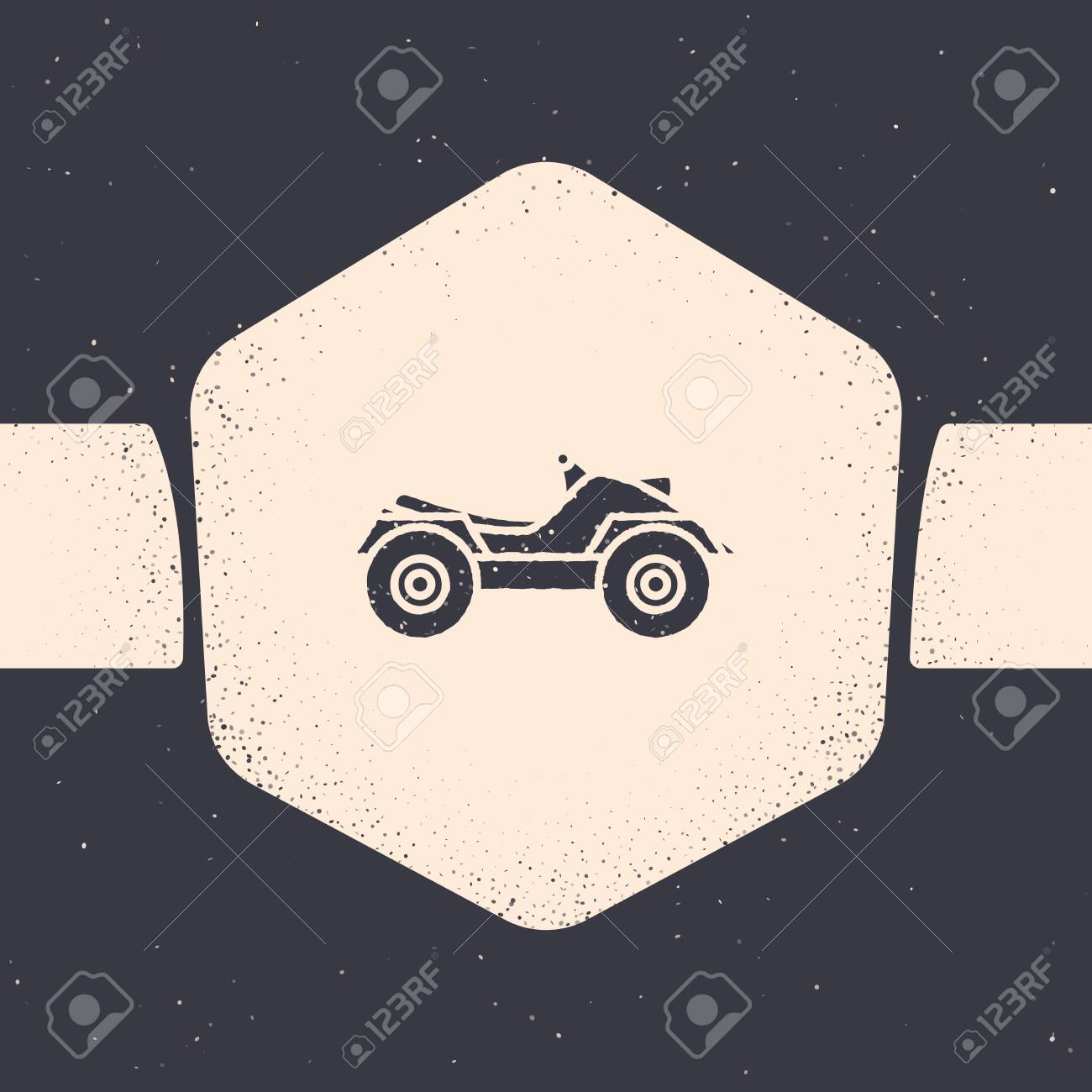 Grunge All Terrain Vehicle or ATV motorcycle icon isolated on grey background. Quad bike. Extreme sport. Monochrome vintage drawing. Vector Illustration - 129687385