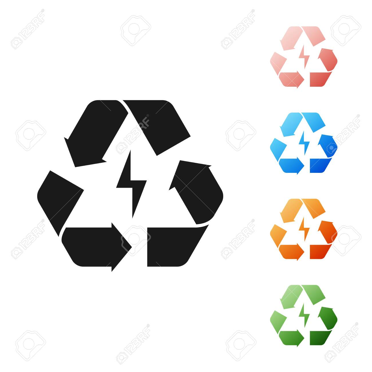 Black Battery with recycle symbol line icon isolated on white background. Battery with recycling symbol - renewable energy concept. Set icons colorful. Vector Illustration - 131382100