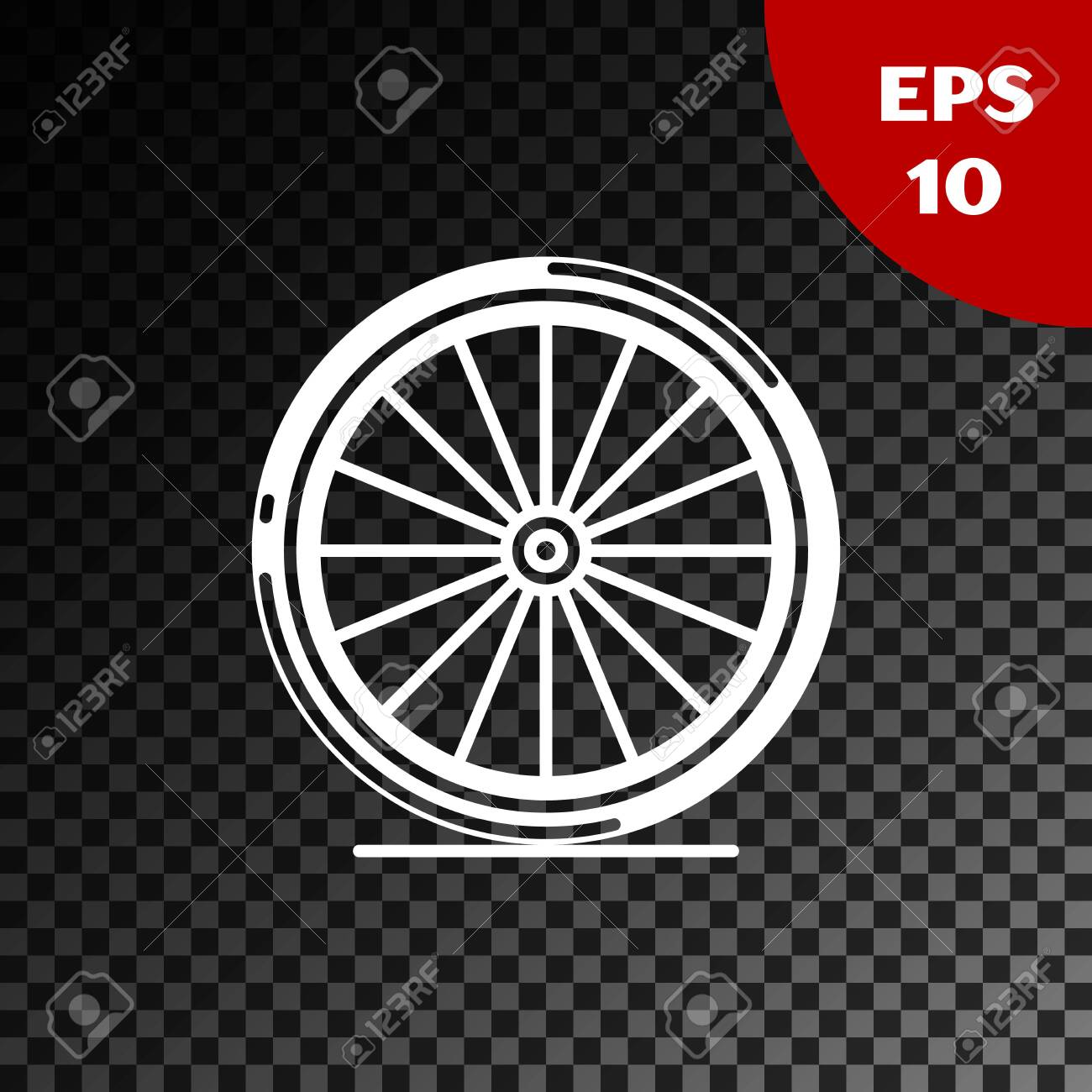 White Bicycle Wheel Icon Isolated On Transparent Dark Background Royalty Free Cliparts Vectors And Stock Illustration Image 132106549