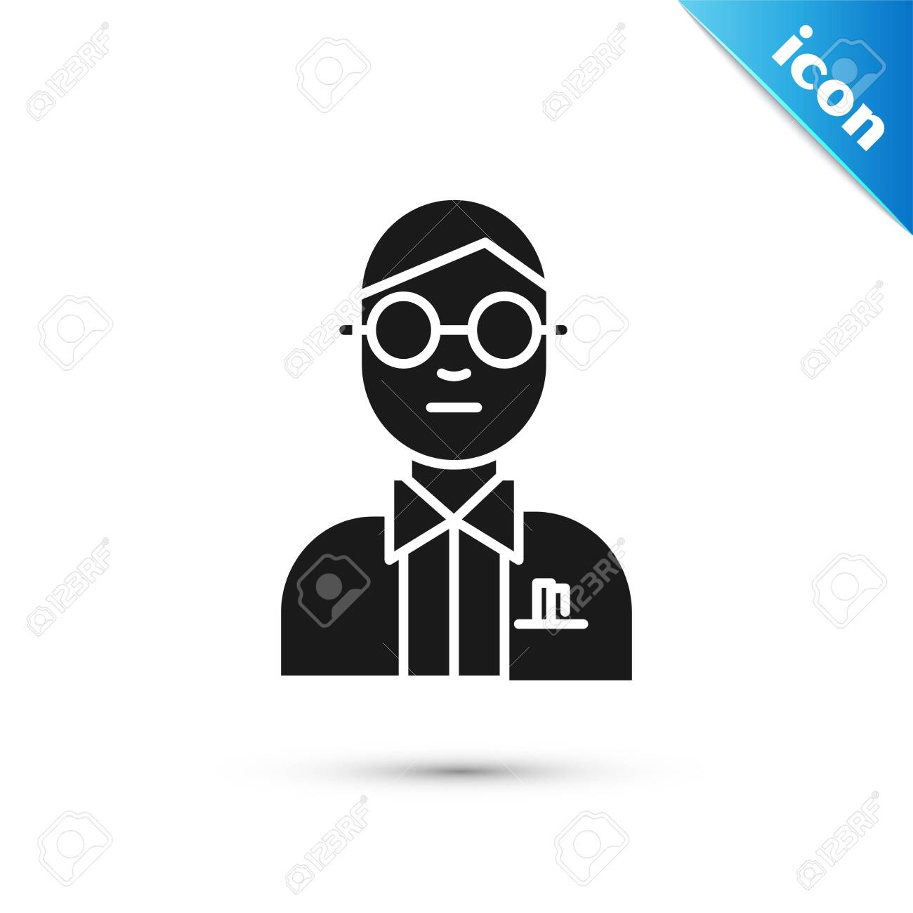 black scientist icon isolated on white background vector illustration royalty free cliparts vectors and stock illustration image 132713234 123rf com