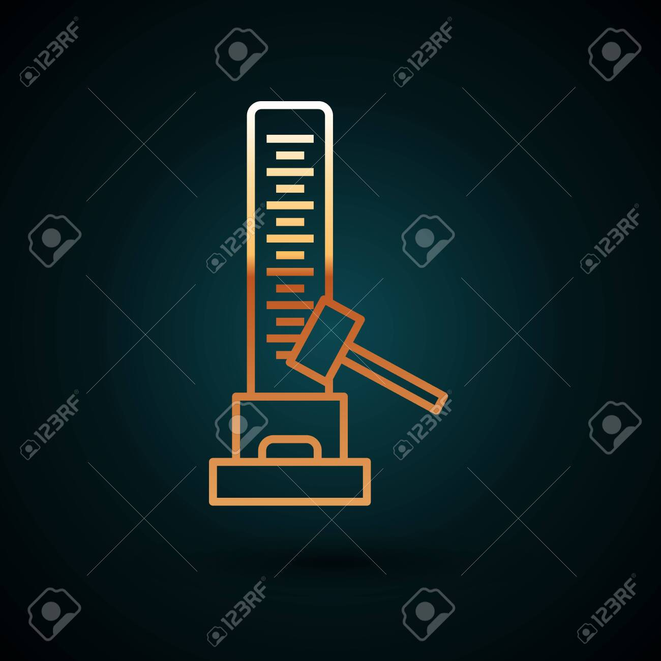 Gold line High striker attraction with big hammer icon isolated on dark blue background. Attraction for measuring strength. Amusement park. Vector Illustration - 133040136