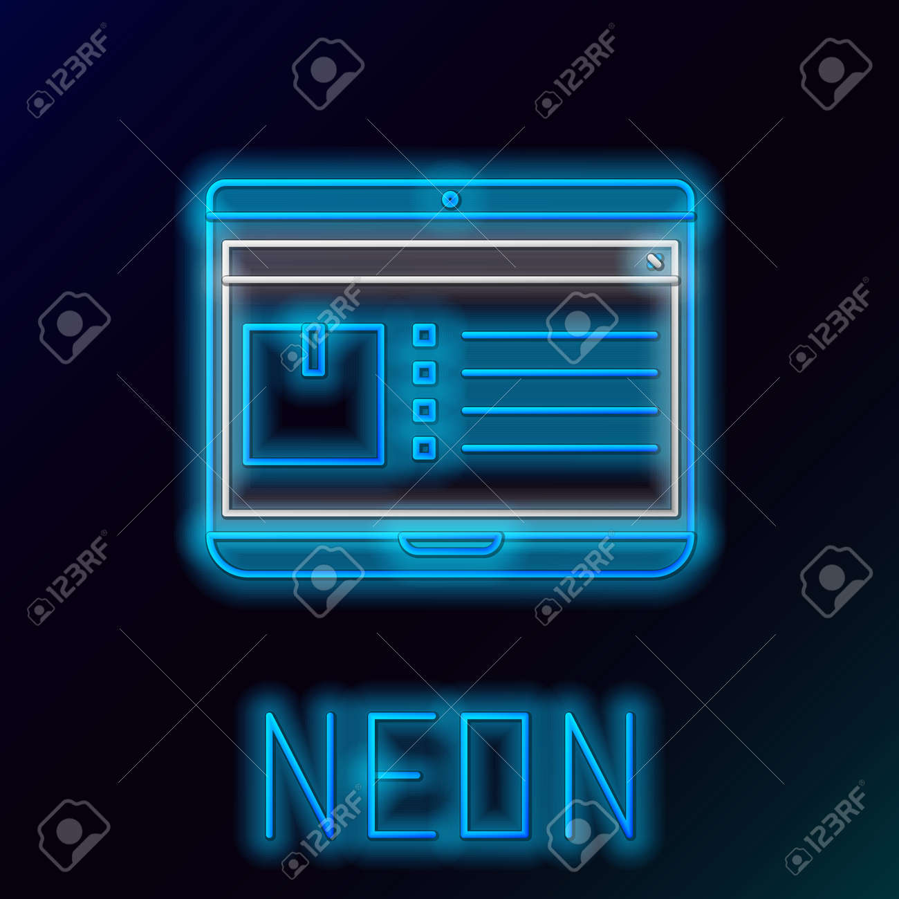 Blue glowing neon line Laptop with app delivery tracking icon isolated on black background. Parcel tracking. Colorful outline concept. Vector Illustration - 133581321