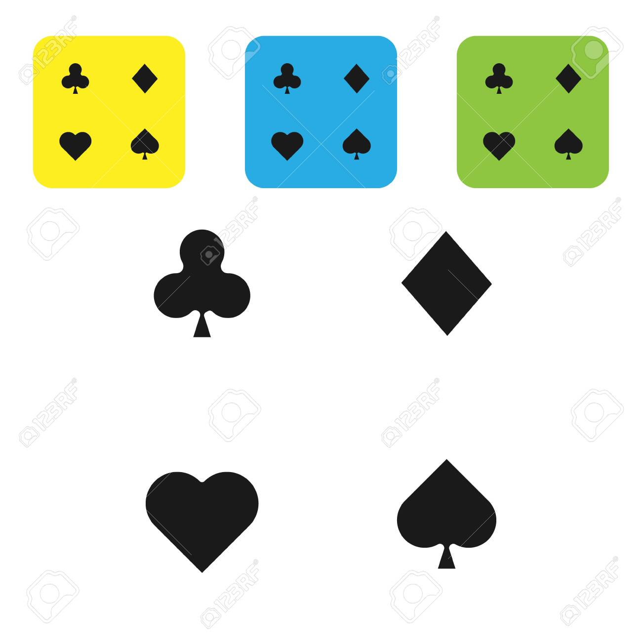 Black Playing cards icon isolated on white background. Casino gambling. Set icons colorful square buttons. Vector Illustration - 133710343