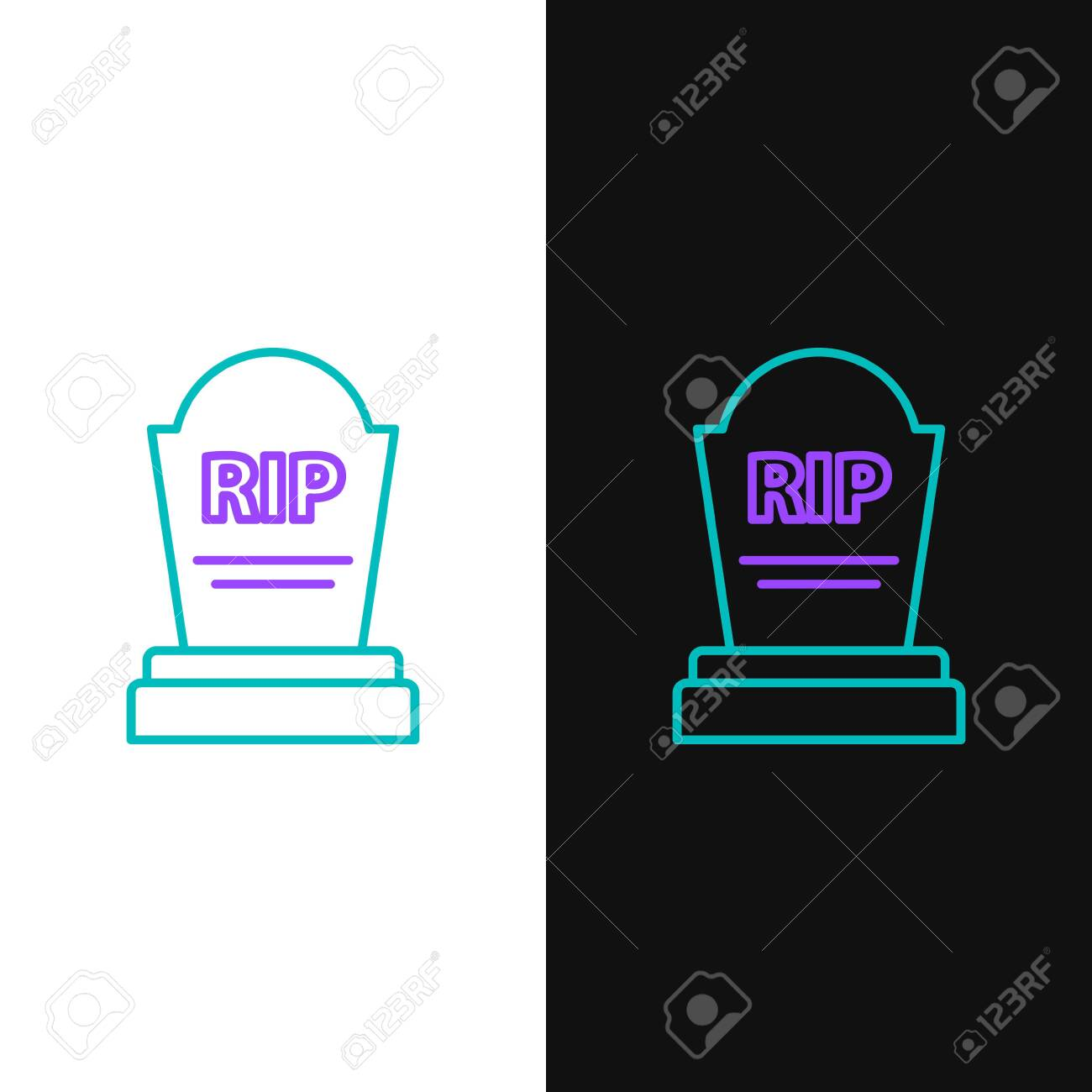 Green and purple line Tombstone with RIP written on it icon isolated on white and black background. Grave icon. Vector Illustration - 135286035