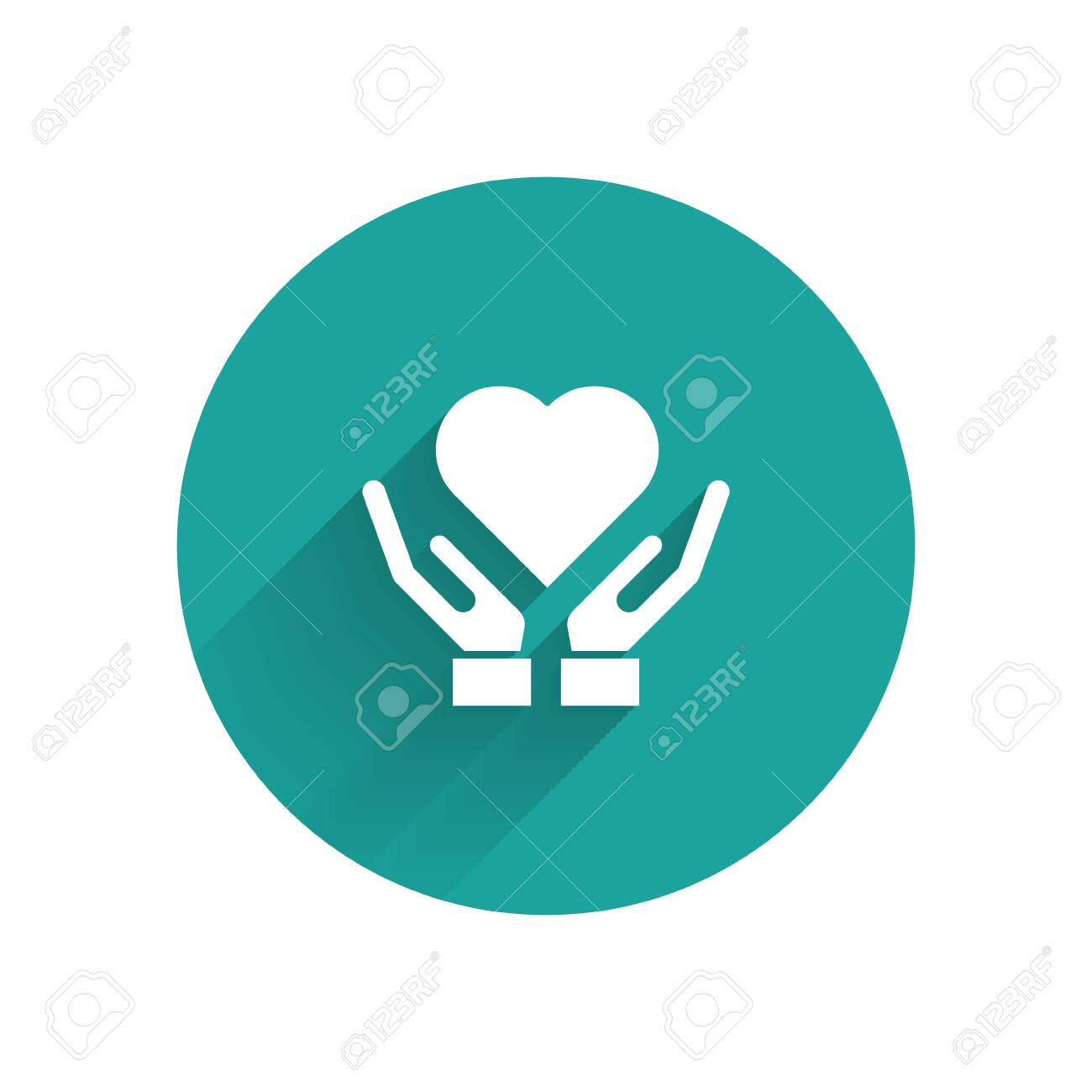 White Heart on hand icon isolated with long shadow. Hand giving love symbol. Valentines day symbol. Green circle button. Vector Illustration - 137396102