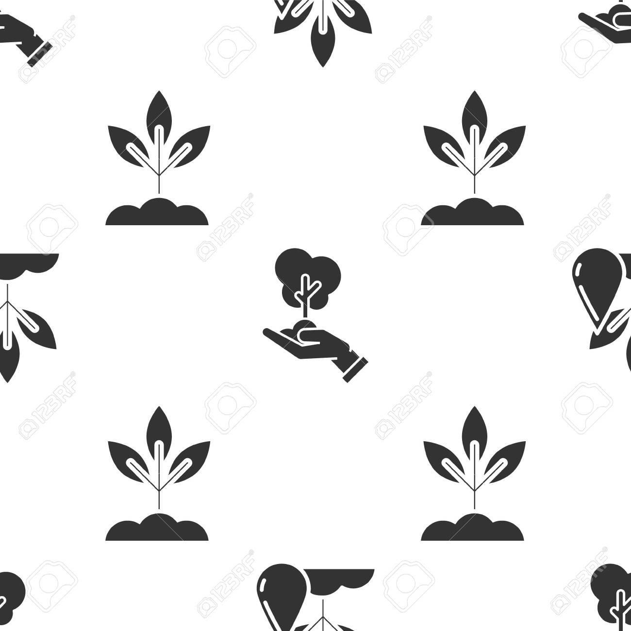 Set Watering plant, Tree in hand of environmental protection and Plant on seamless pattern. Vector - 137921493