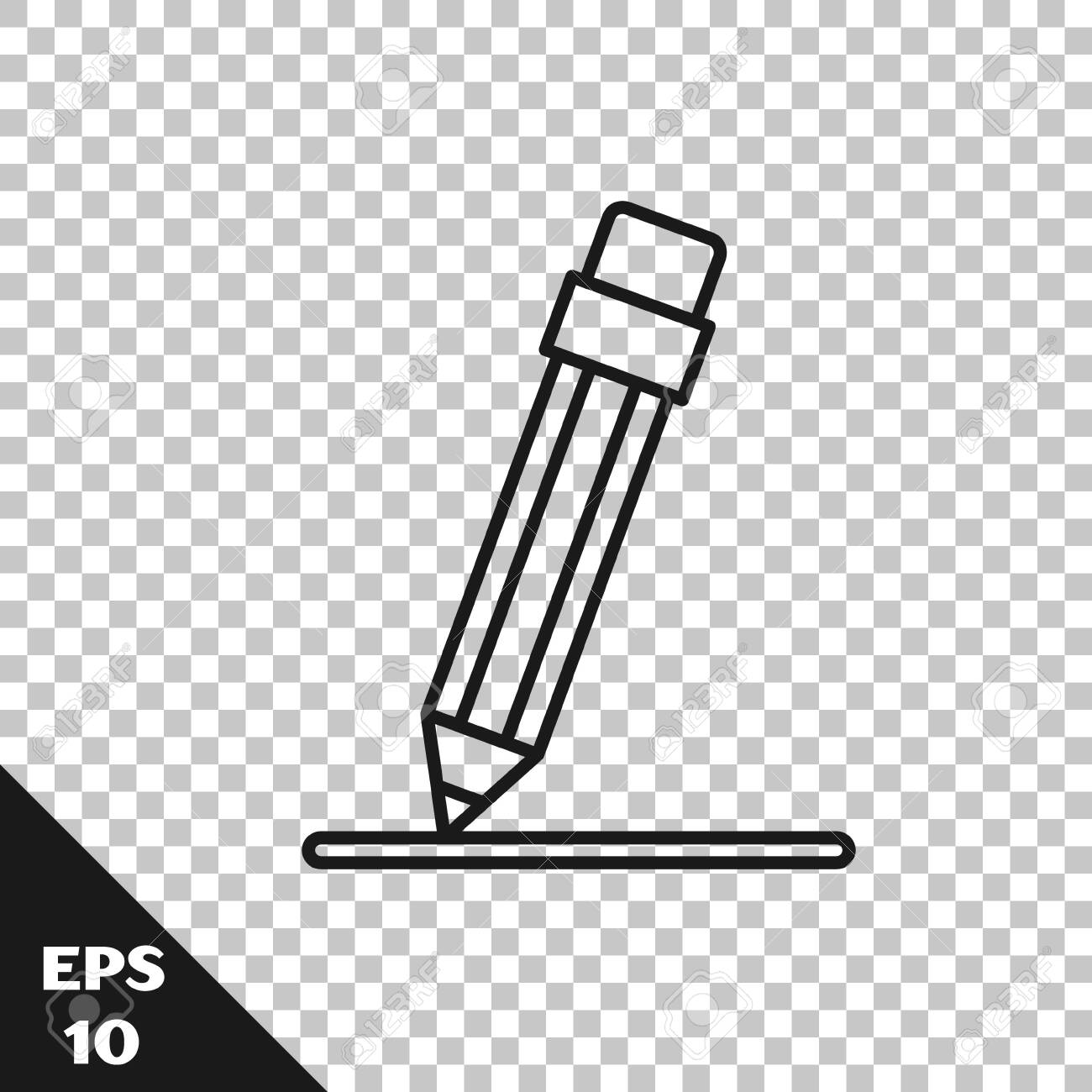 black line pencil with eraser and line icon isolated on transparent royalty free cliparts vectors and stock illustration image 139231722 black line pencil with eraser and line icon isolated on transparent