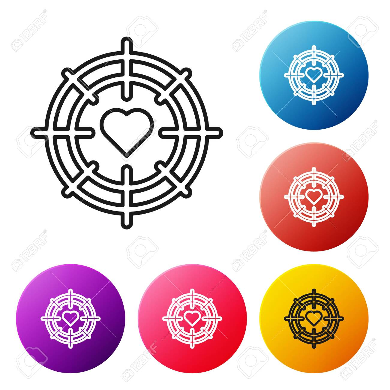 black line heart in the center of darts target aim icon isolated royalty free cliparts vectors and stock illustration image 139550800 123rf com