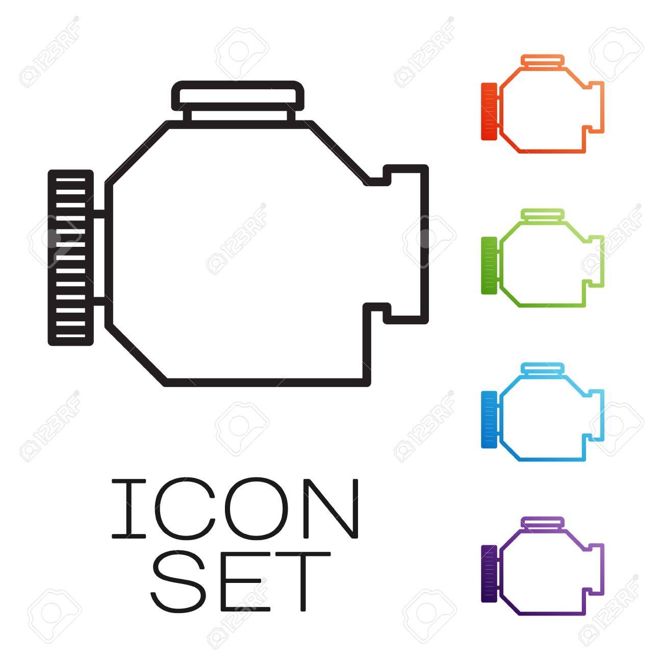 Black line Check engine icon isolated on white background. Set icons colorful. Vector Illustration - 139984465