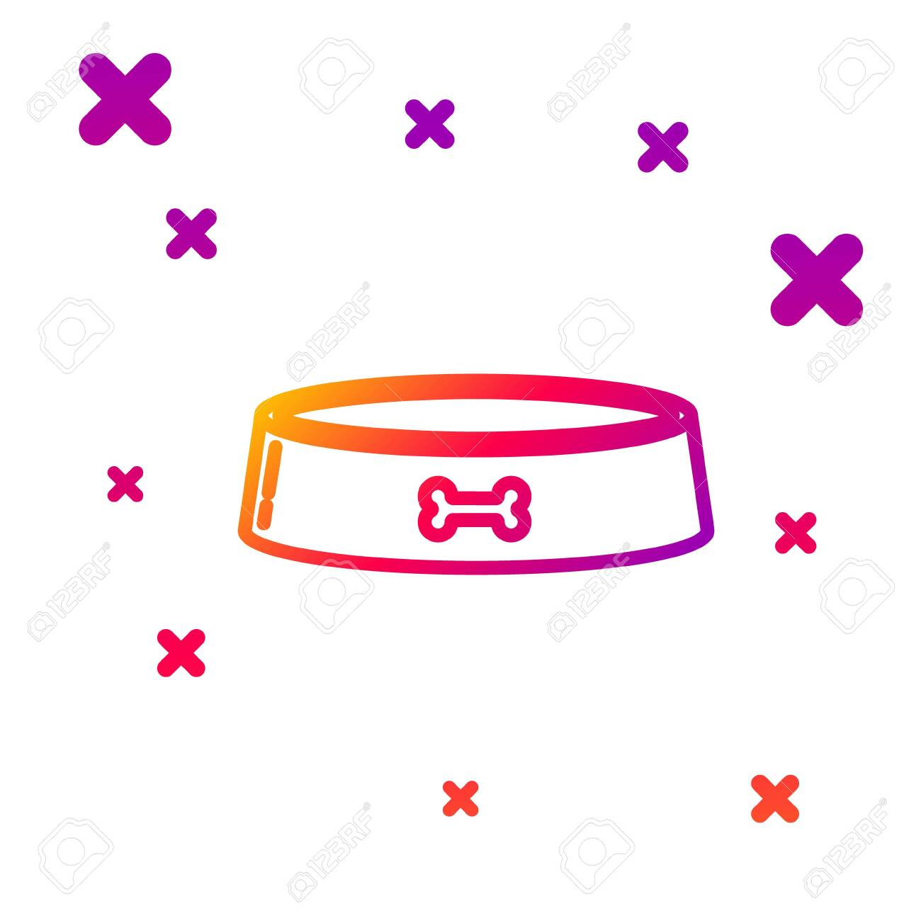 Color line Pet food bowl for cat or dog icon isolated on white background. Dog bone sign. Gradient random dynamic shapes. Vector Illustration - 140719792