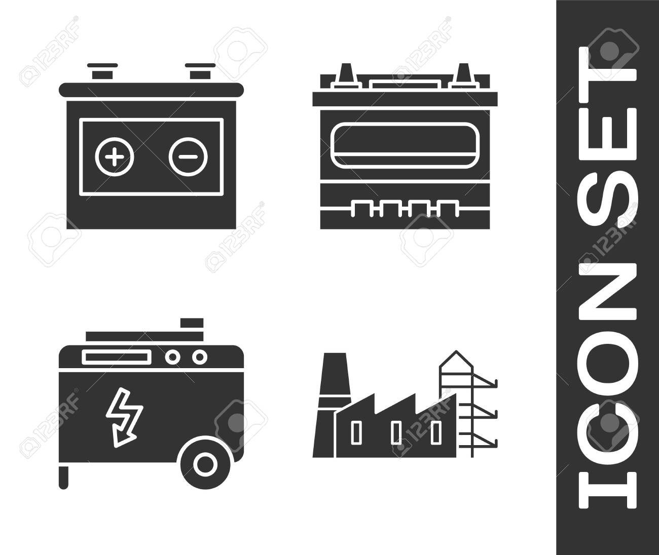 Set Power station plant and factory, Car battery, Portable power electric generator and Car battery icon. Vector - 141332544