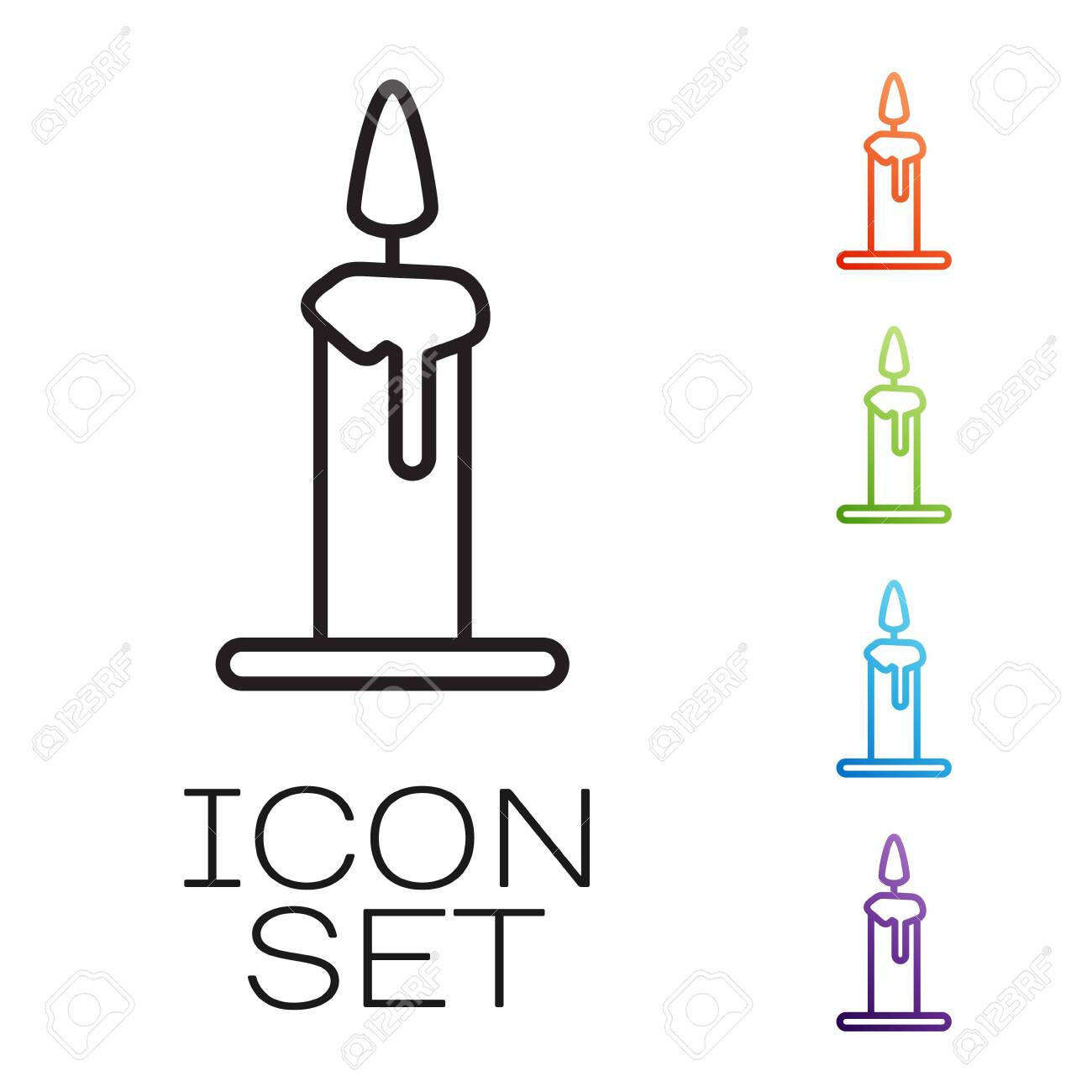Black line Burning candle in candlestick icon isolated on white background. Cylindrical candle stick with burning flame. Set icons colorful. Vector Illustration - 146522506