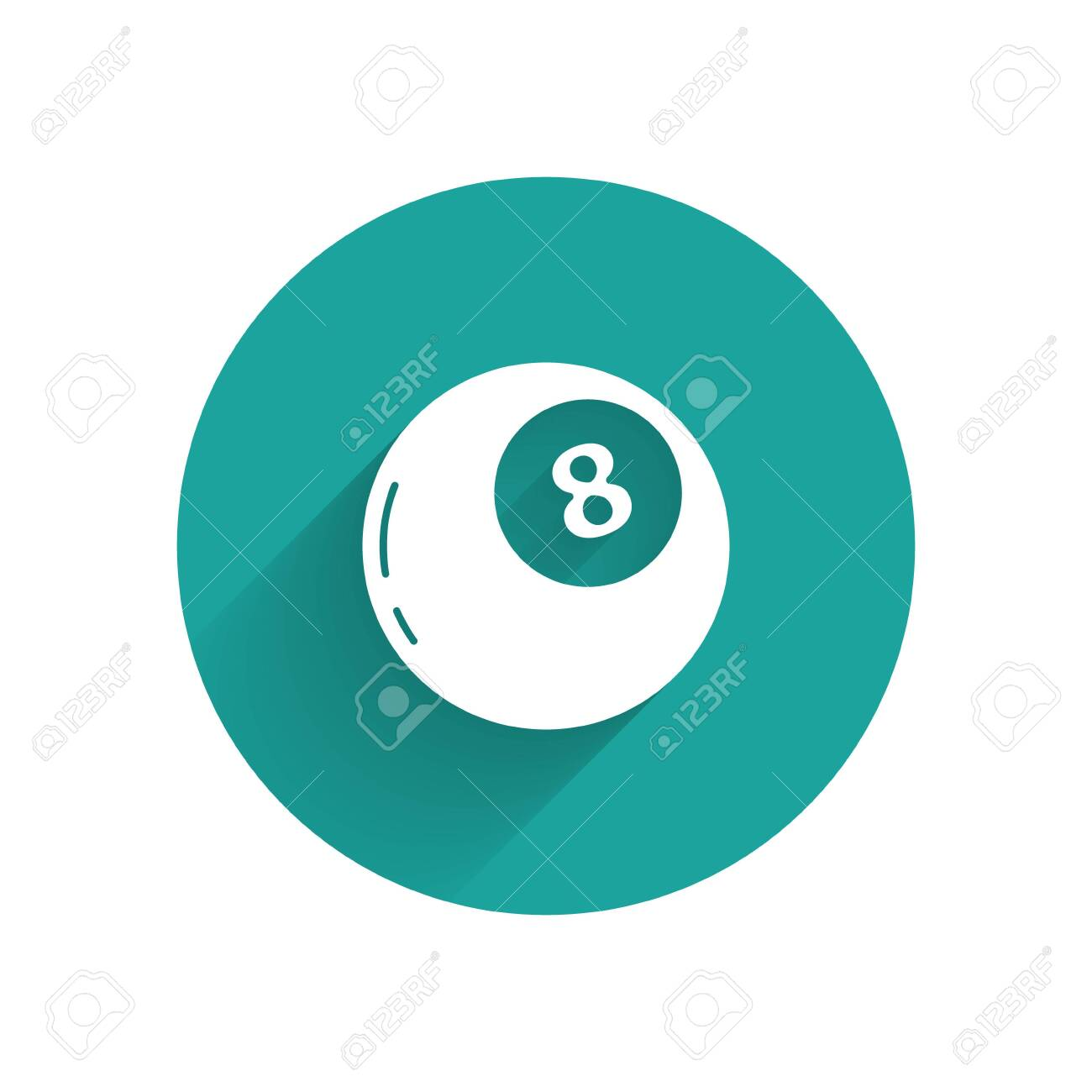 White Magic ball of predictions for decision-making icon isolated with long shadow. Crystal ball. Green circle button. Vector - 147666987