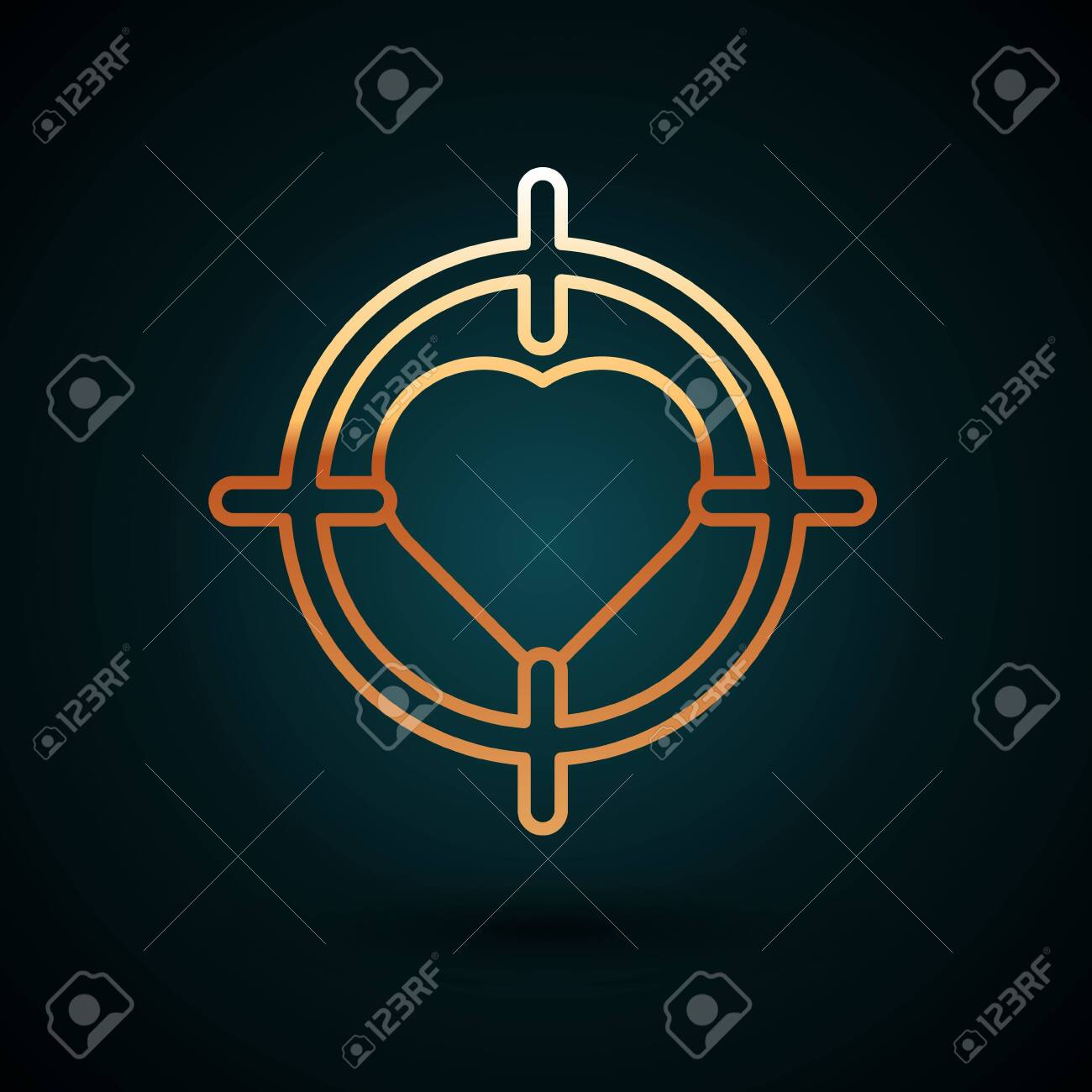 gold line heart in the center of darts target aim icon isolated royalty free cliparts vectors and stock illustration image 150093181 123rf com