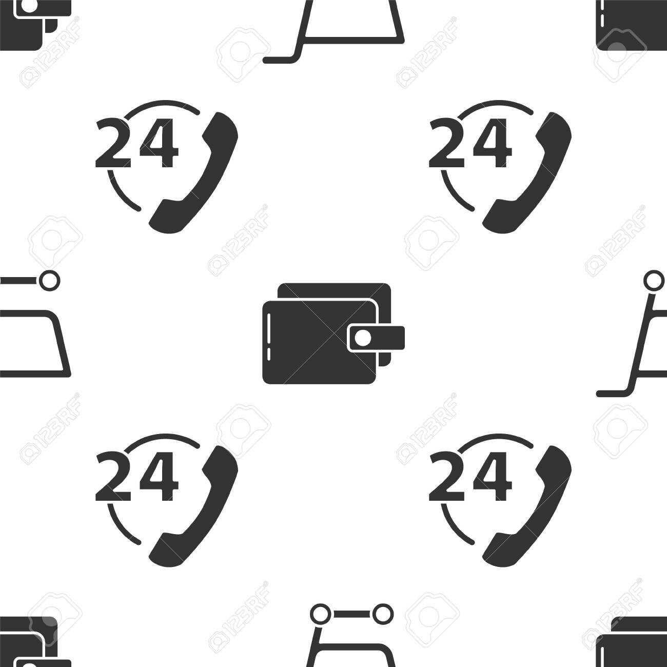 Set Shopping cart, Wallet and Telephone 24 hours support on seamless pattern. Vector. - 150717578