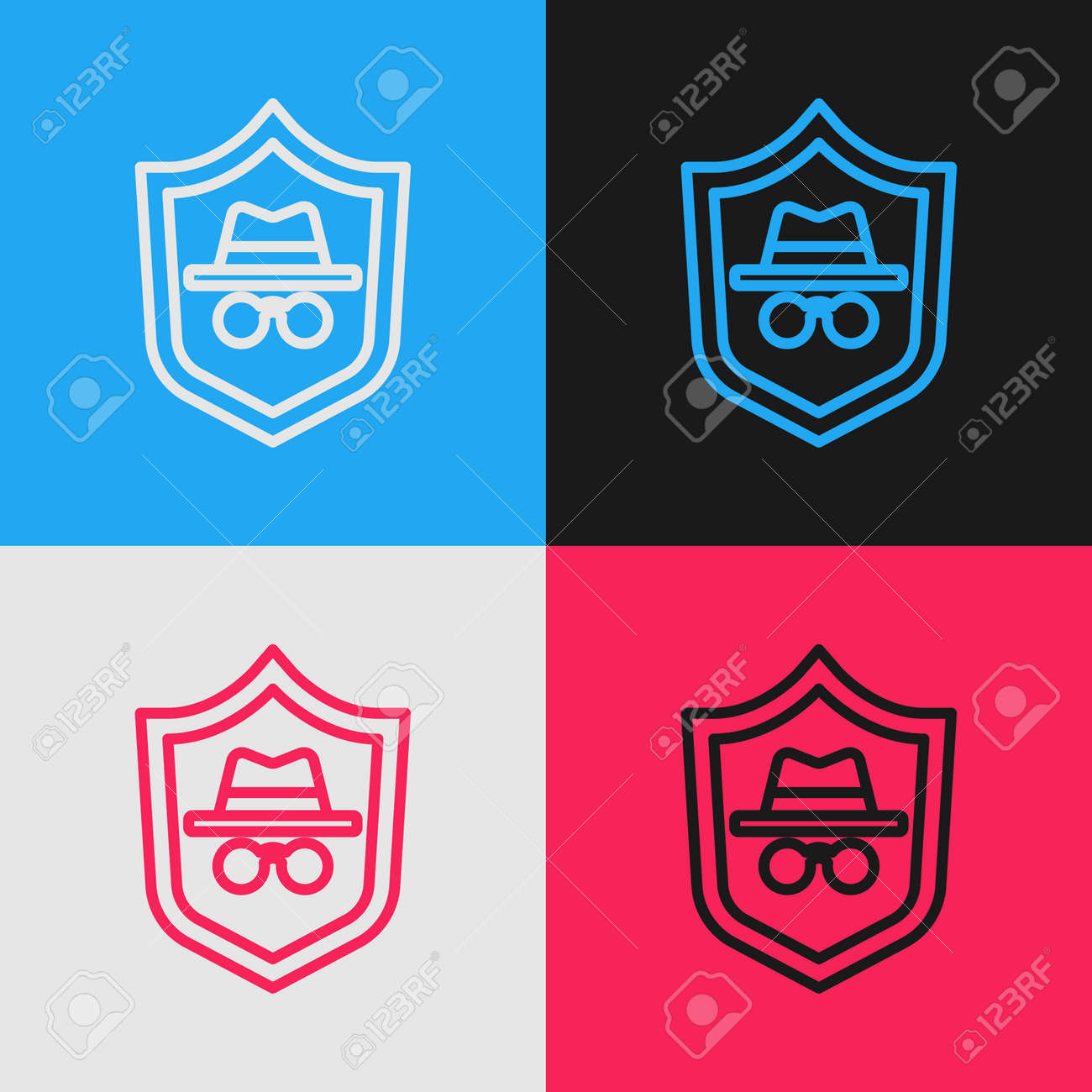 Pop art line Incognito mode icon isolated on color background. Vector - 166517317