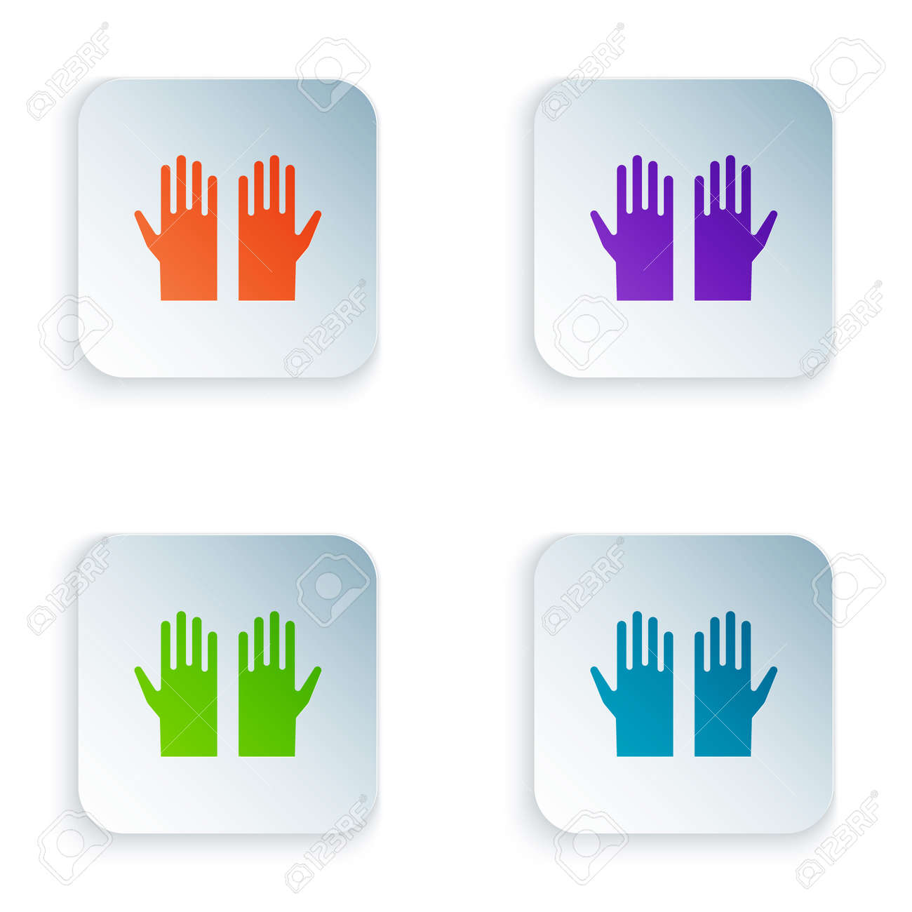 Color Medical rubber gloves icon isolated on white background. Protective rubber gloves. Set colorful icons in square buttons. Vector - 170180297