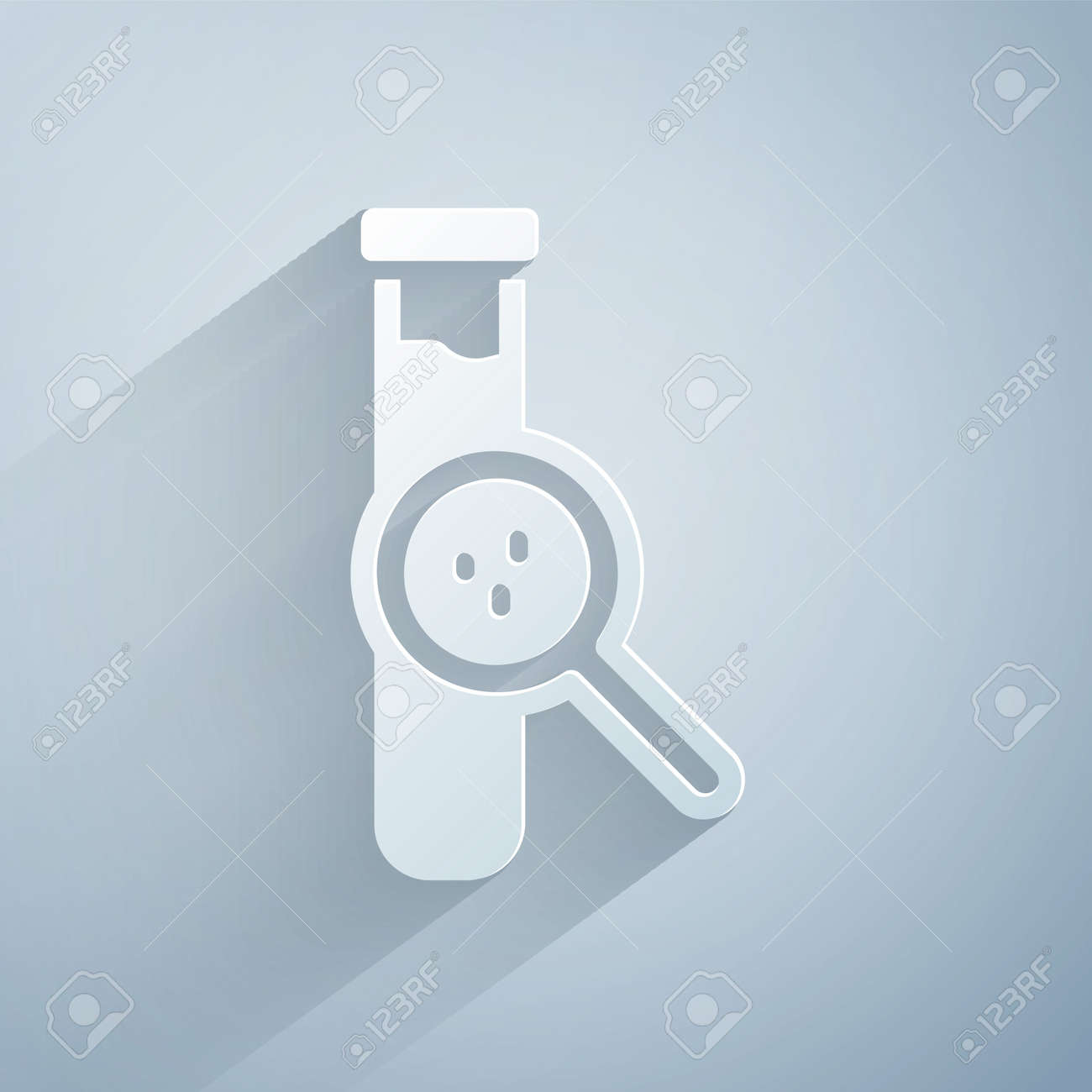 Paper cut Test tube and flask chemical laboratory test icon isolated on grey background. Laboratory glassware sign. Paper art style. Vector - 170180347