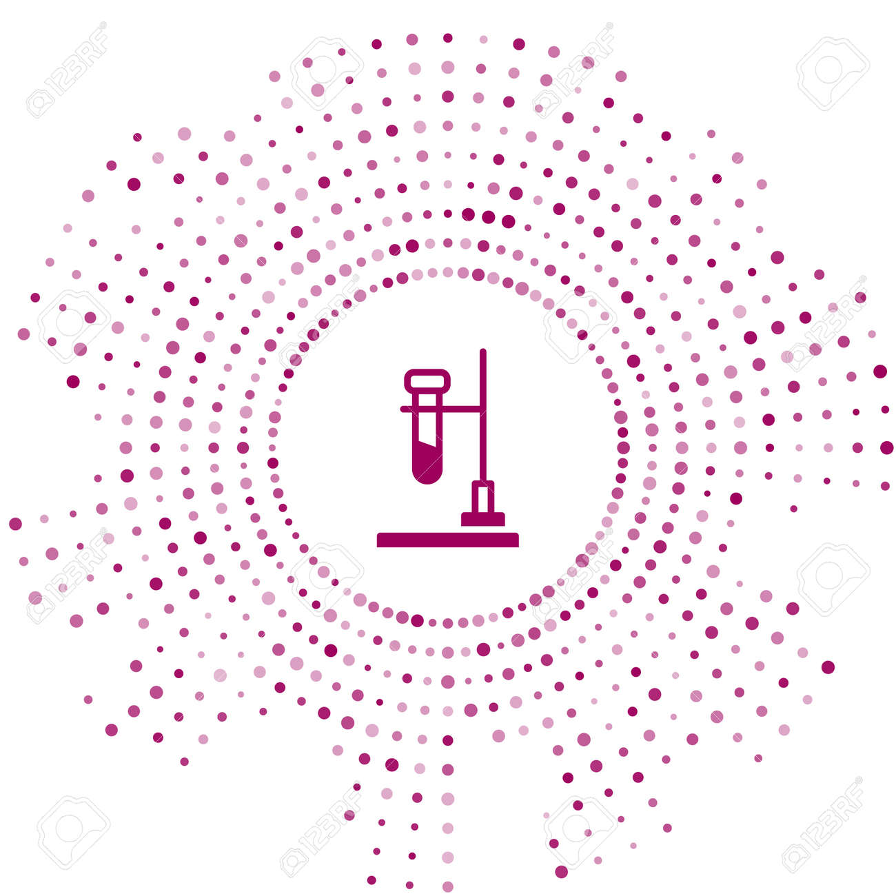 Purple Glass test tube flask on fire heater experiment icon isolated on white background. Laboratory equipment. Abstract circle random dots. Vector - 170180350