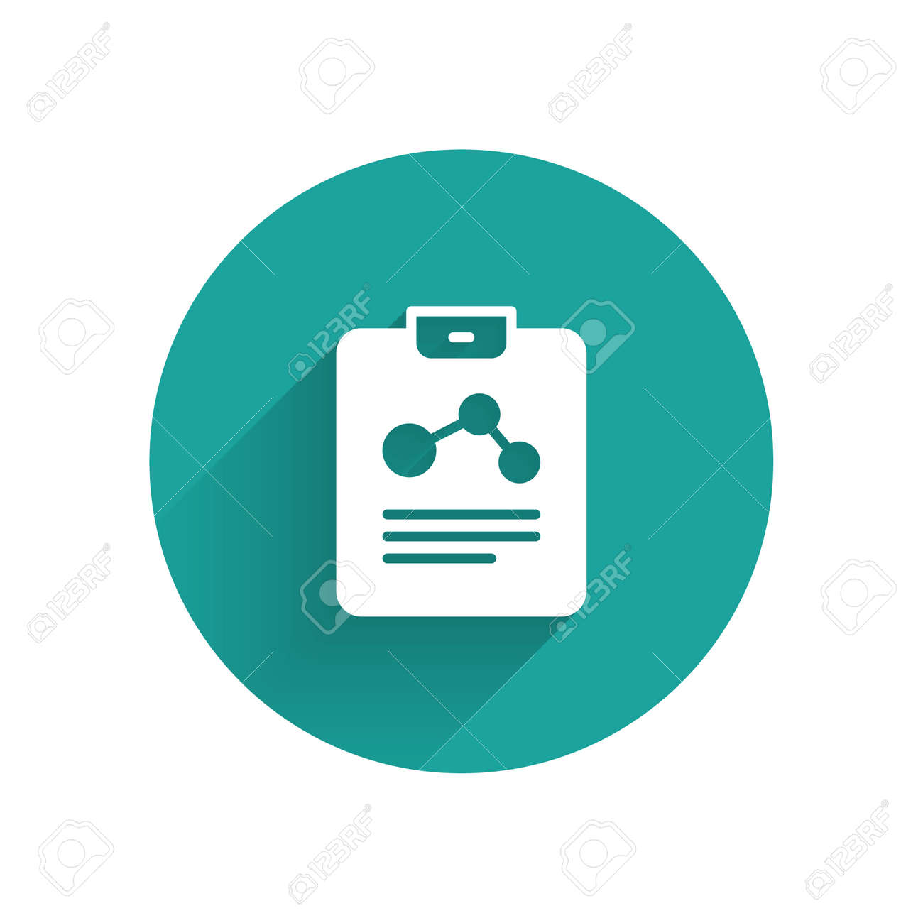 White Chemistry report icon isolated with long shadow. Green circle button. Vector - 170180353