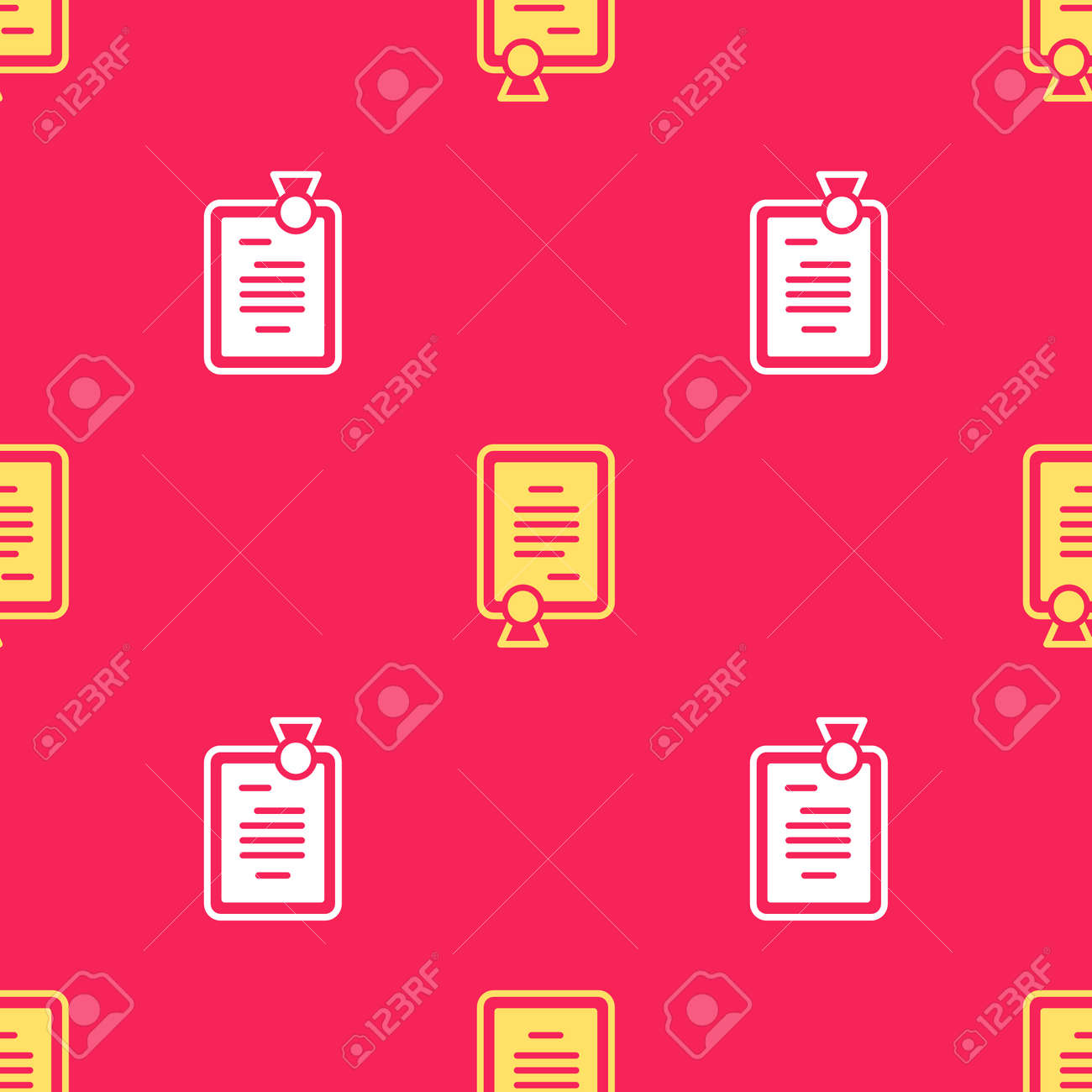Yellow Certificate template icon isolated seamless pattern on red background. Achievement, award, degree, grant, diploma concepts. Vector - 170180355