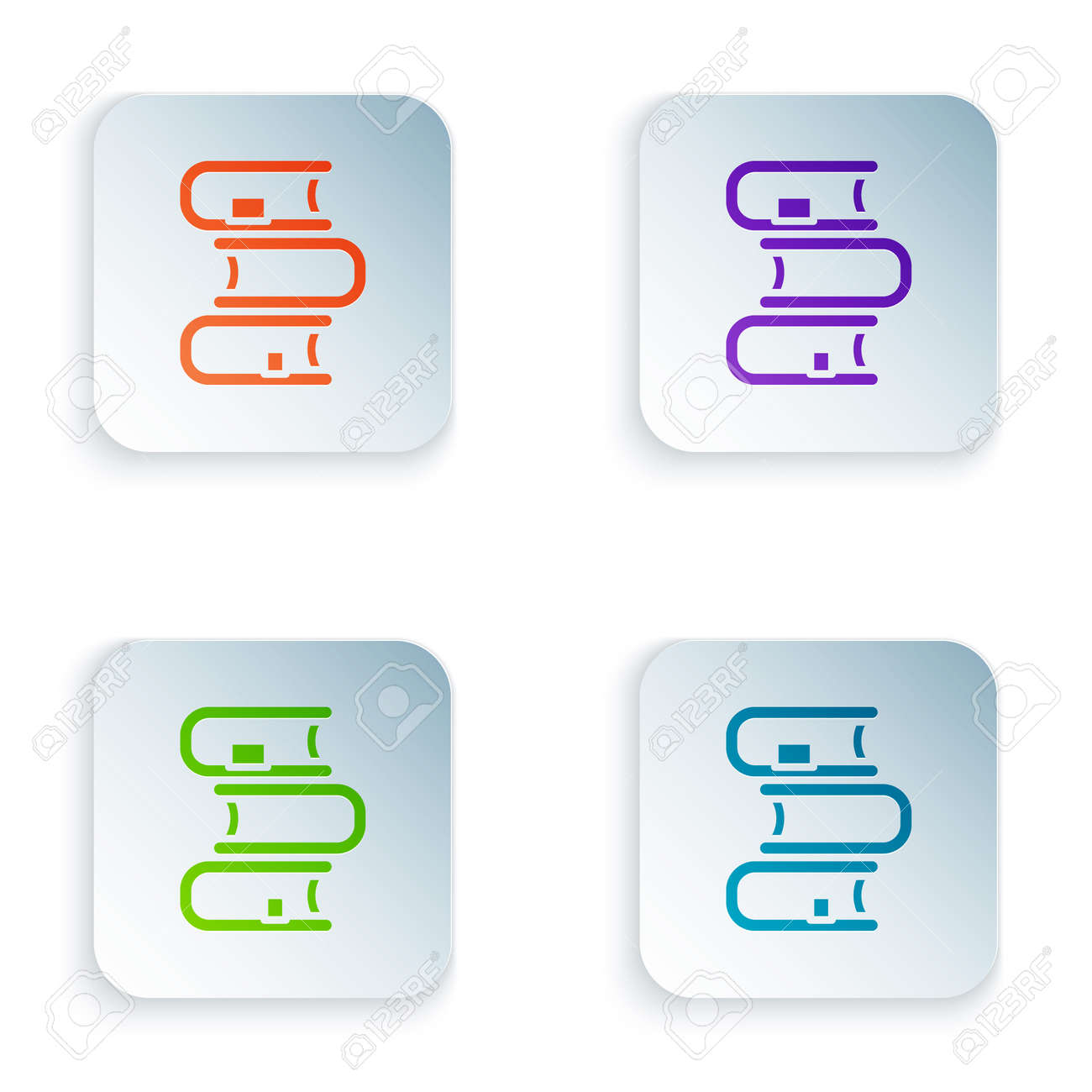 Color Book icon isolated on white background. Set colorful icons in square buttons. Vector - 170180359