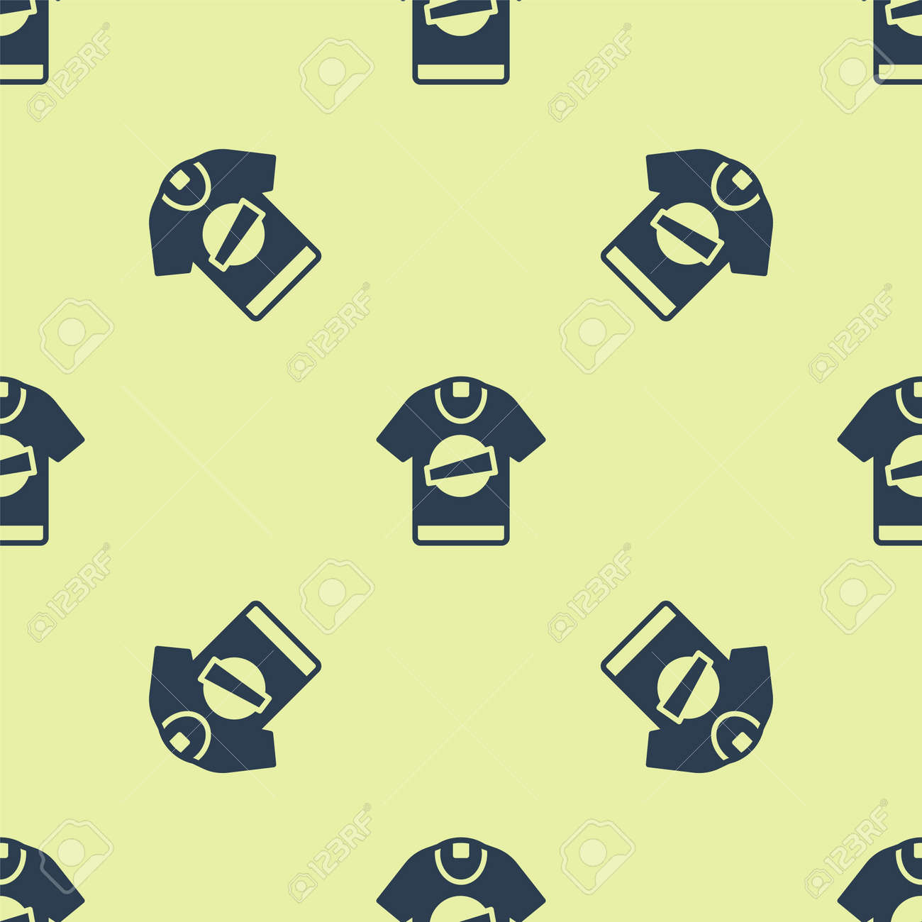 Blue T-shirt icon isolated seamless pattern on yellow background. Vector - 170180362