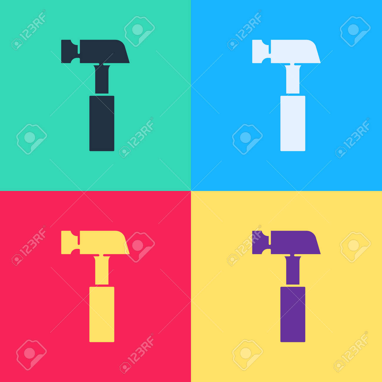 Pop art Hammer icon isolated on color background. Tool for repair. Vector - 170180375