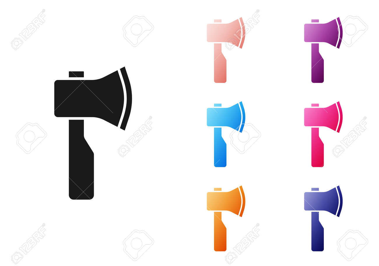 Black Wooden axe icon isolated on white background. Lumberjack axe. Set icons colorful. Vector - 170180377