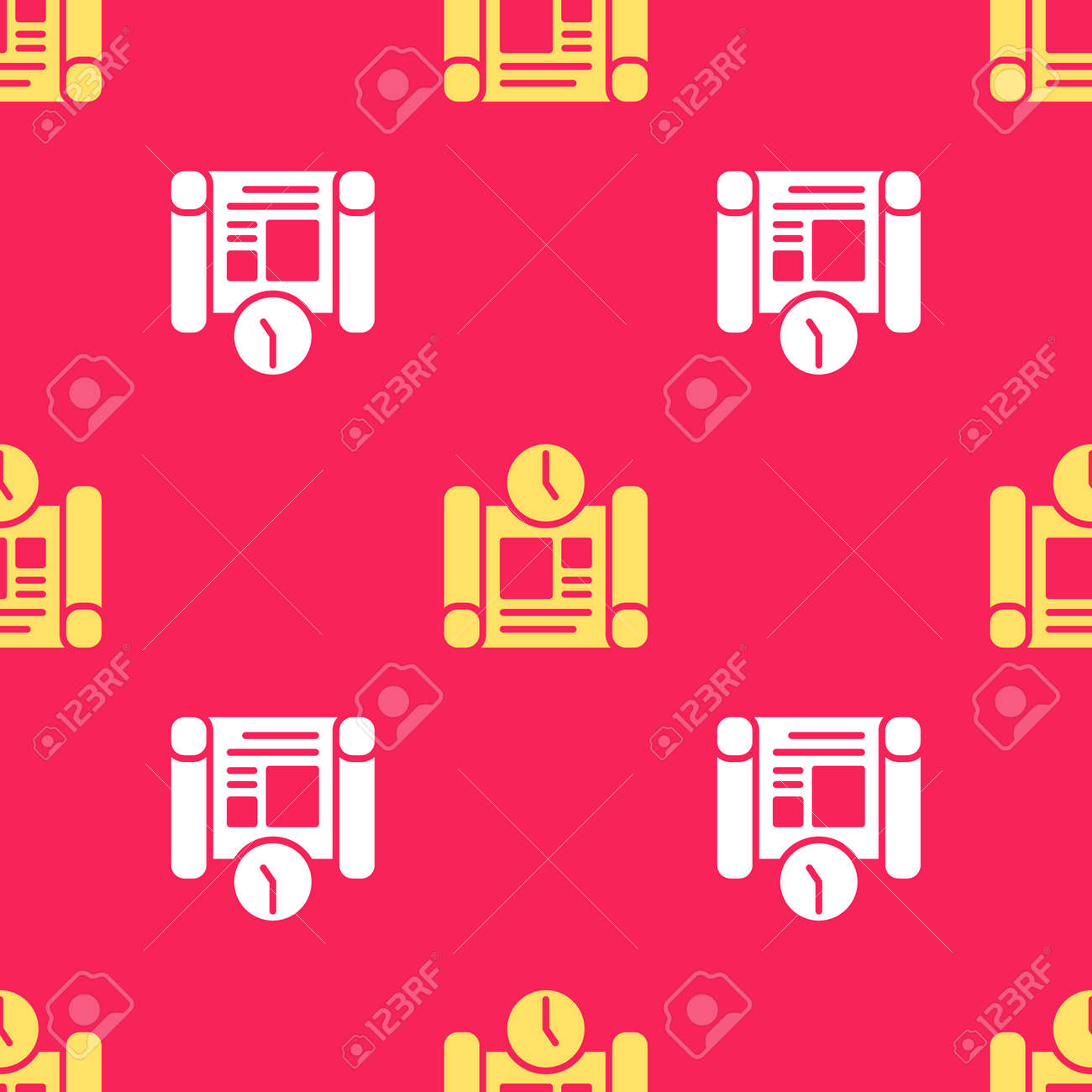 Yellow Business project time plan icon isolated seamless pattern on red background. Vector - 170180410