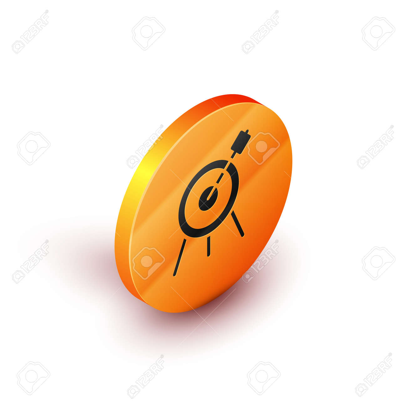 Isometric Target sport icon isolated on white background. Clean target with numbers for shooting range or shooting. Orange circle button. Vector - 170180413