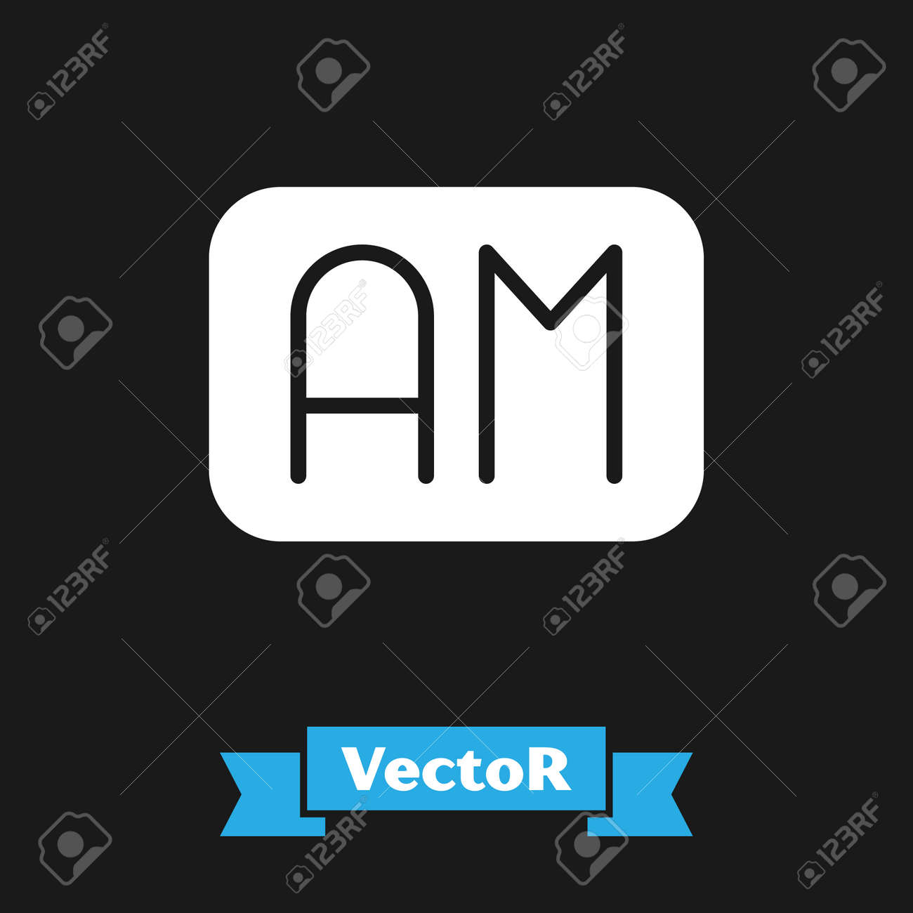 White Morning time icon isolated on black background. Time symbol. Vector - 170180414