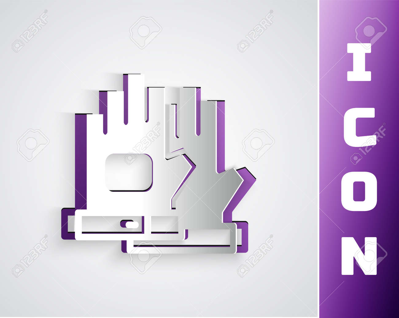 Paper cut Gloves icon isolated on grey background. Extreme sport. Sport equipment. Paper art style. Vector - 170180445