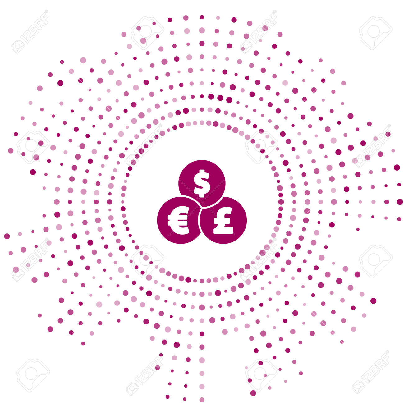 Purple Currency exchange icon isolated on white background. Cash transfer symbol. Banking currency sign. Abstract circle random dots. Vector - 170180469