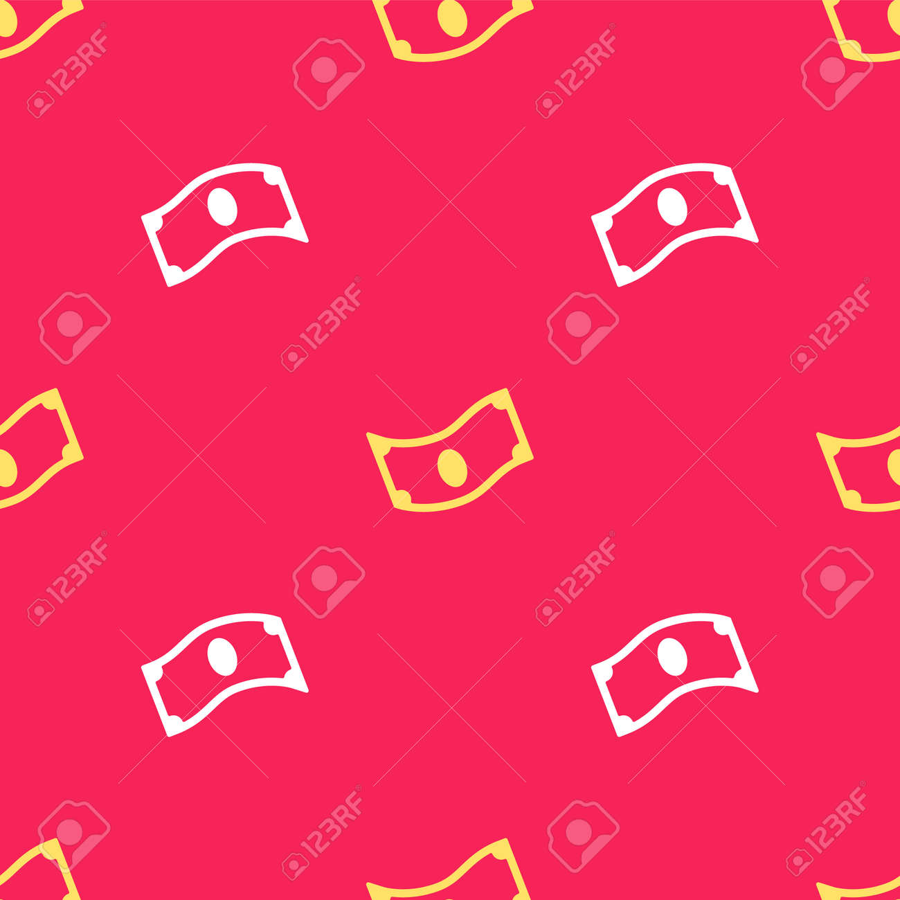 Yellow Stacks paper money cash icon isolated seamless pattern on red background. Money banknotes stacks. Bill currency. Vector - 170180479