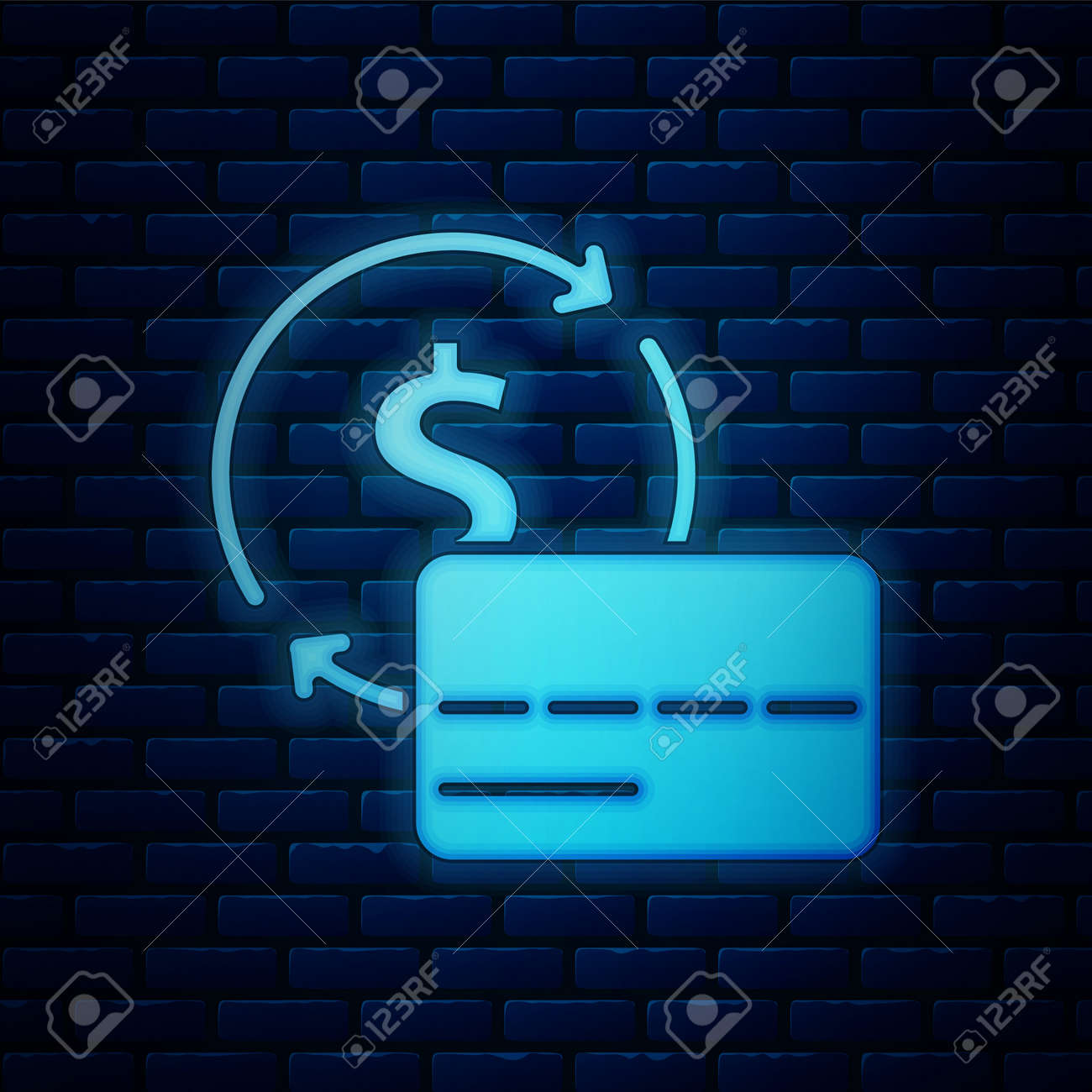 Glowing neon Credit card icon isolated on brick wall background. Online payment. Cash withdrawal. Financial operations. Shopping sign. Vector - 170180482