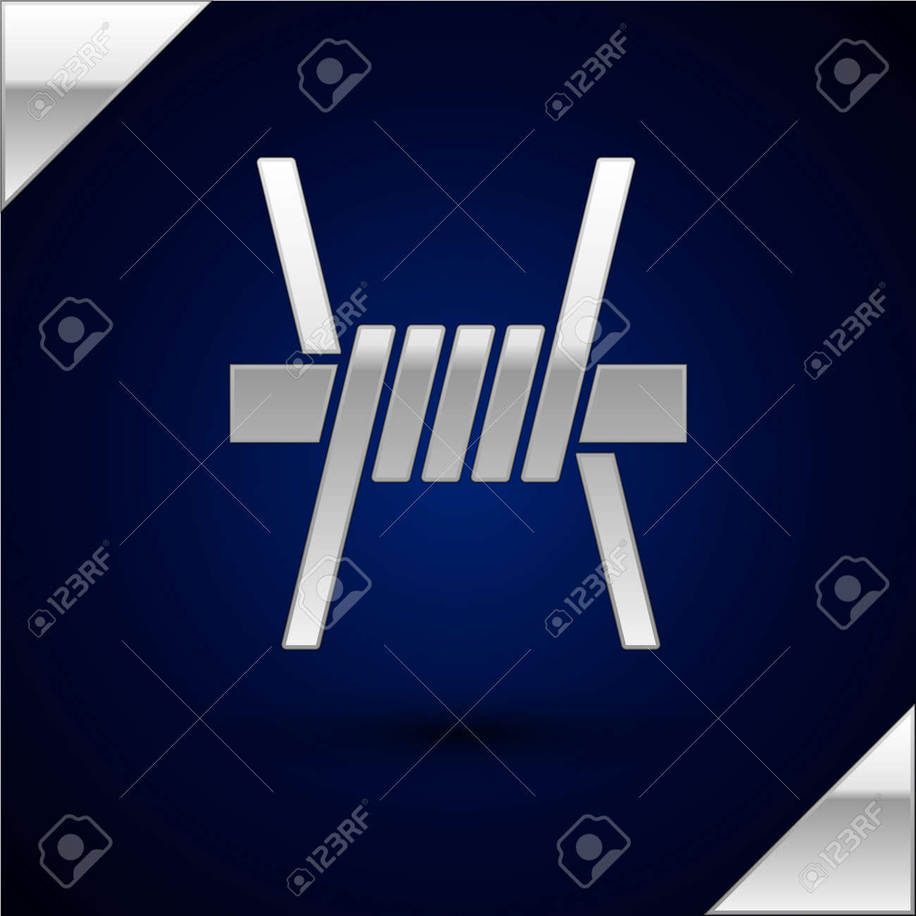 Silver Barbed wire icon isolated on dark blue background. Vector - 170180498