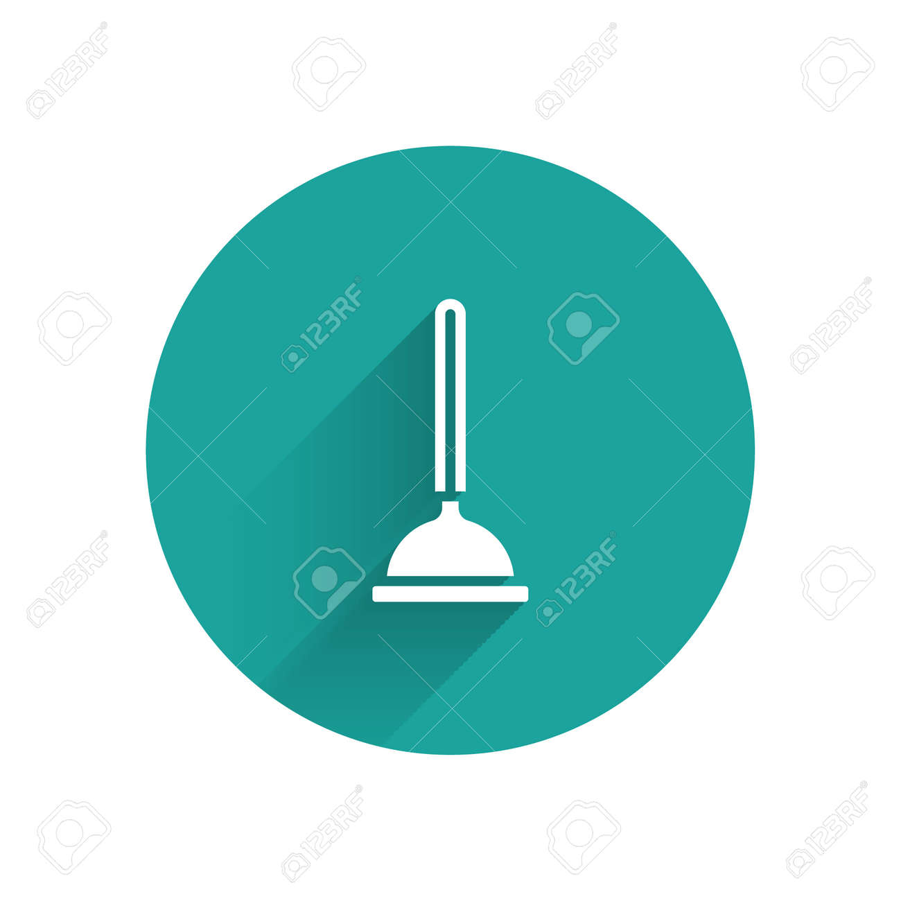 White Rubber plunger with wooden handle for pipe cleaning icon isolated with long shadow. Toilet plunger. Green circle button. Vector - 170180597