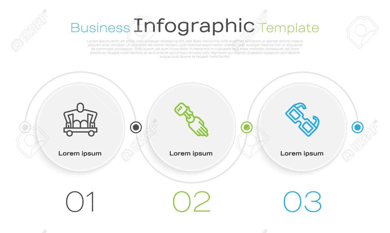 Set line Man without legs sitting wheelchair, Prosthesis hand and Eyeglasses. Business infographic template. Vector - 171522681